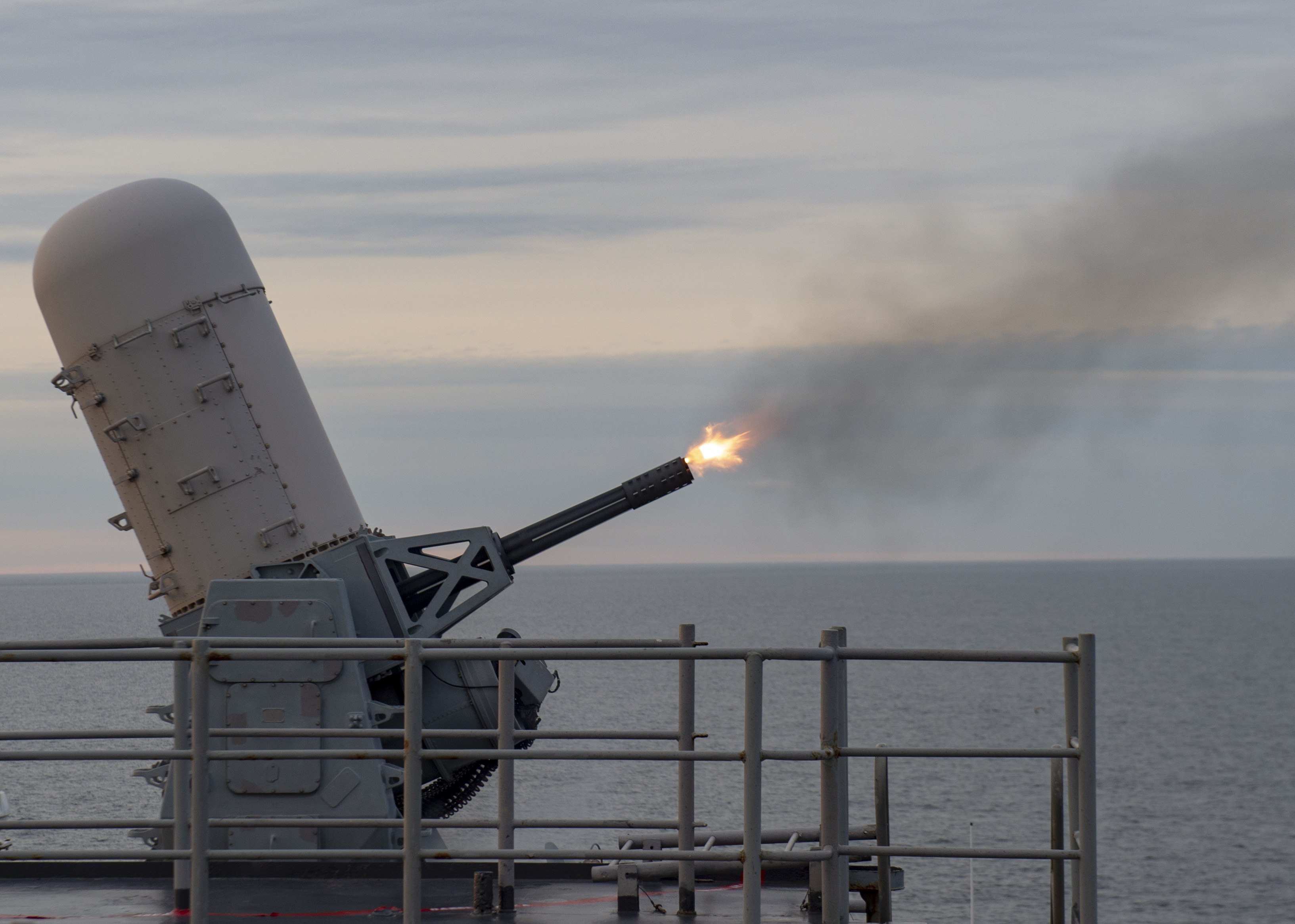 The CIWS is a fast-firing defensive weapon. The challenges of target identification and autonomous response are central to ethical questions around the use of AI in war. (Chris Roys / Navy)