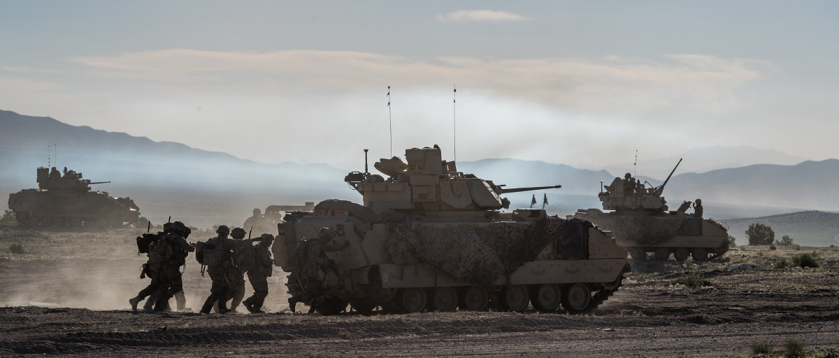Army National Guard Infantrymen from the 116th Cavalry Brigade Combat Team seize a town from the enemy June 7, 2019, at the National Training Center in Fort Irwin, Calif. (Sgt. Mason Cutrer/Army National Guard)