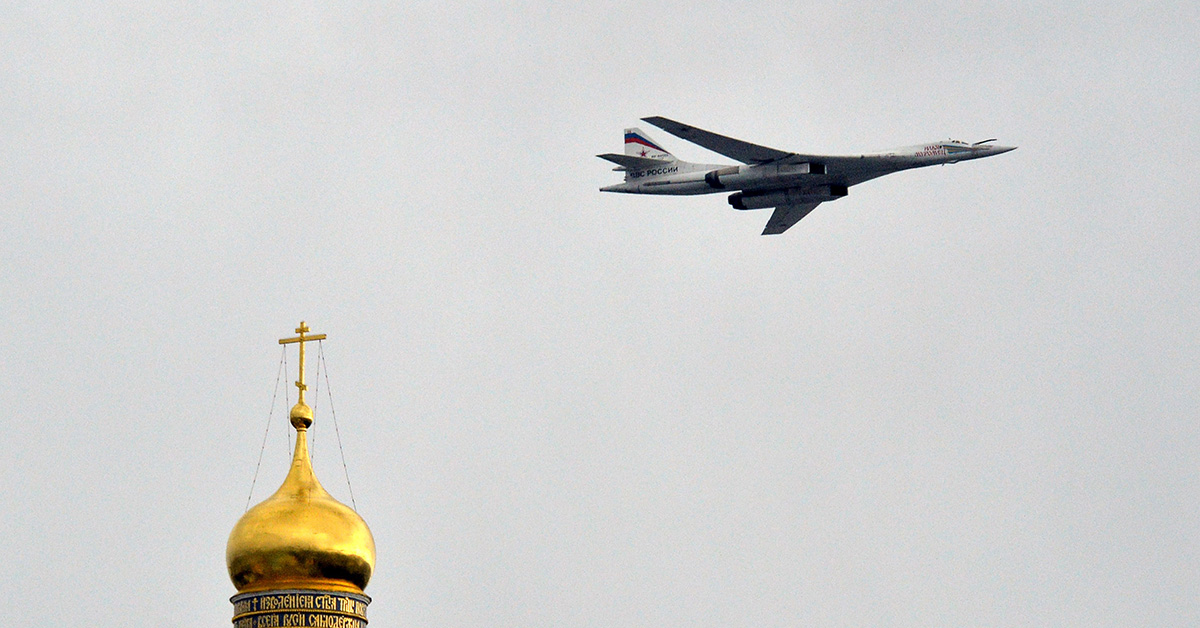 The Russian Defense Ministry said two nuclear-capable strategic bombers flew near Alaska as part of an air force exercise. Pictured: A Russian Tupolev Tu-160 supersonic strategic bomber flies above the Kremlin's cathedrals on May 7, 2014, in Moscow during a rehearsal of the Victory Day parade. (Yuri Kadobnov/AFP via Getty Images)