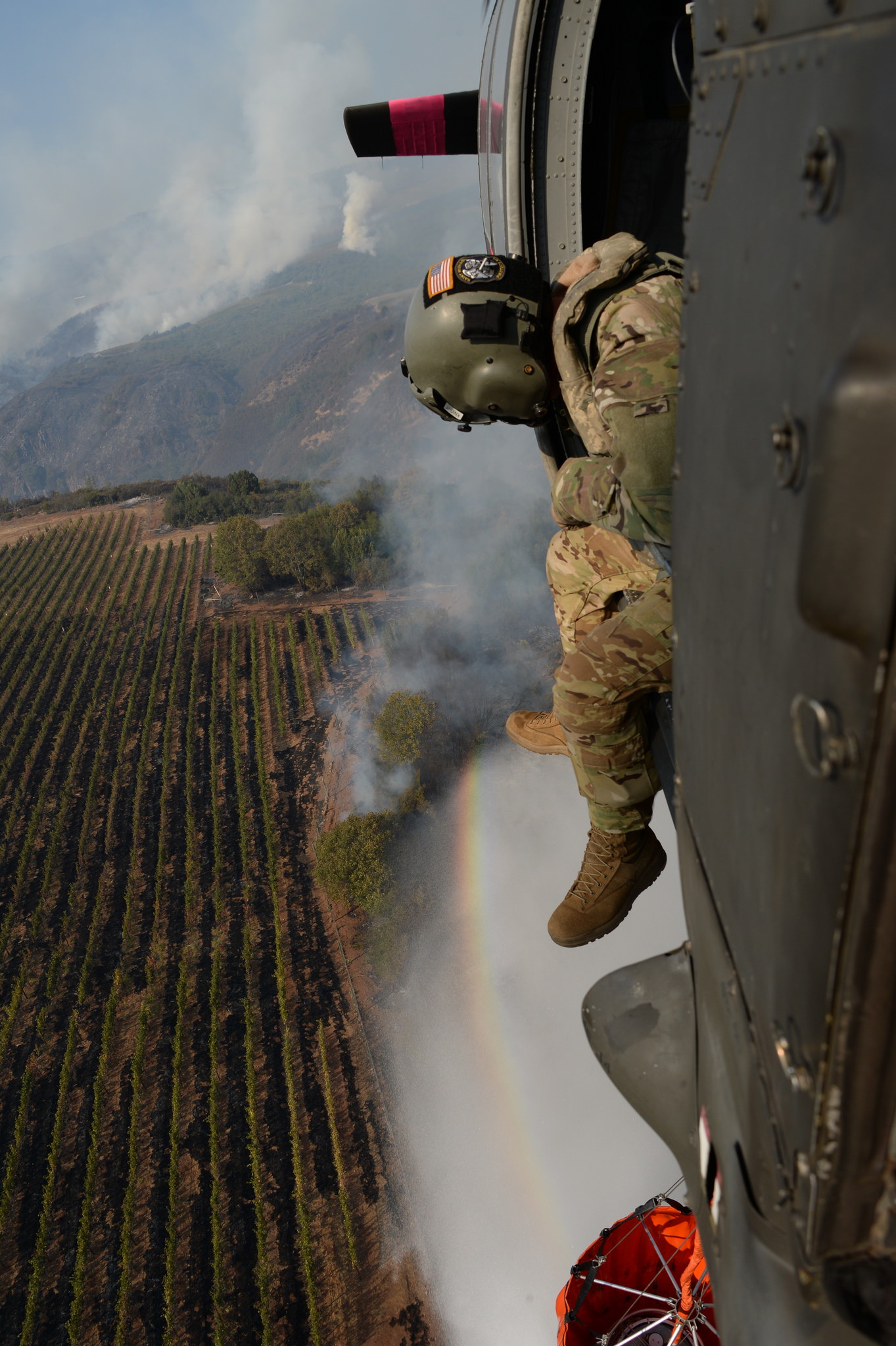 A California Army National Guard Black Hawk conducted water drops on the Northern California Fires in and around Santa Rosa on Oct. 12, 2017. As of Oct. 12, the Cal Guard had dropped more than 60,000 gallons of water on the fires across Northern California. (Master Sgt. David Loeffler/California Air National Guard)