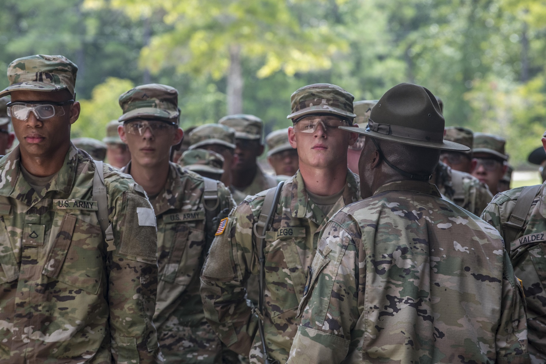 New soldiers arriving for their first day of basic combat training at Fort Jackson, S.C., are