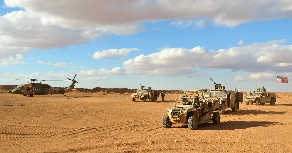 5th Special Forces Group (A) Operation Detachment Bravo 5310 arrives to meet Maj. Gen. James Jarrard at the Landing Zone at base camp Al Tanf Garrison in southern Syria.