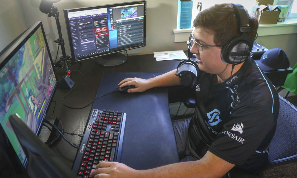 Nick Overton is a professional video game player. If Nick was an Iraqi citizen, he'd be professionally out of luck after the country banned games like Fortnite. (Bryon Houlgrave/The Des Moines Register via AP)