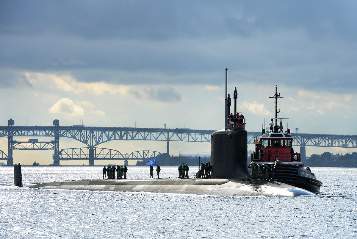 The Virginia-class fast-attack submarine Indiana transits the Thames River as it arrives at its homeport at Naval Submarine Base New London in Groton, Conn. The Navy is falling behind its planned schedule for construction just as it heads into a new, more complicated phase. (MC1 Steven Hoskins/U.S. Navy)