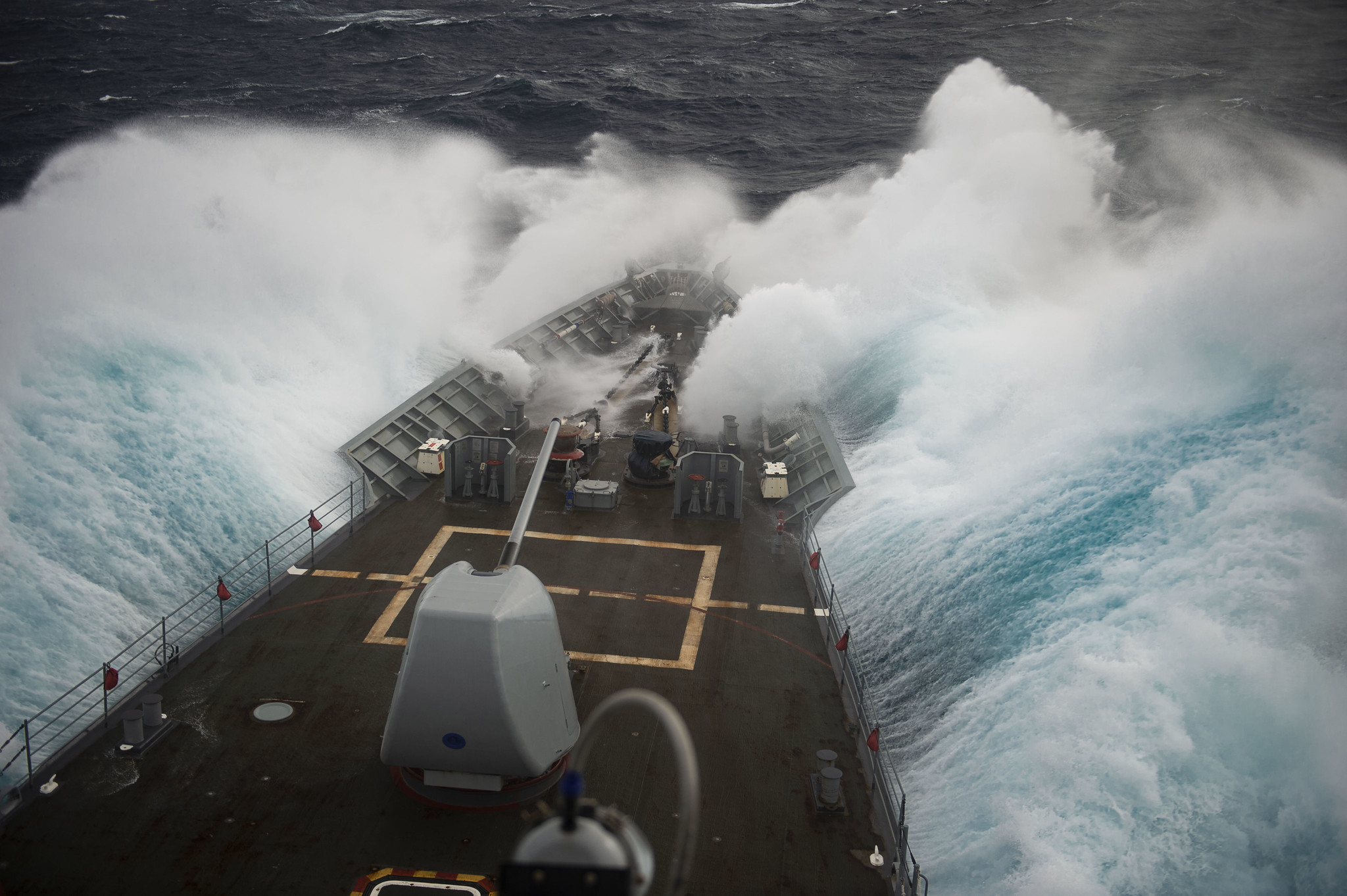 The Ticonderoga-class guided-missile cruiser USS Vella Gulf (CG 72) conducts operations in the Atlantic Ocean on Feb. 6, 2020, as part of the Dwight D. Eisenhower Carrier Strike Group. (Mass Communication Specialist 3rd Class Andrew Waters/Navy)