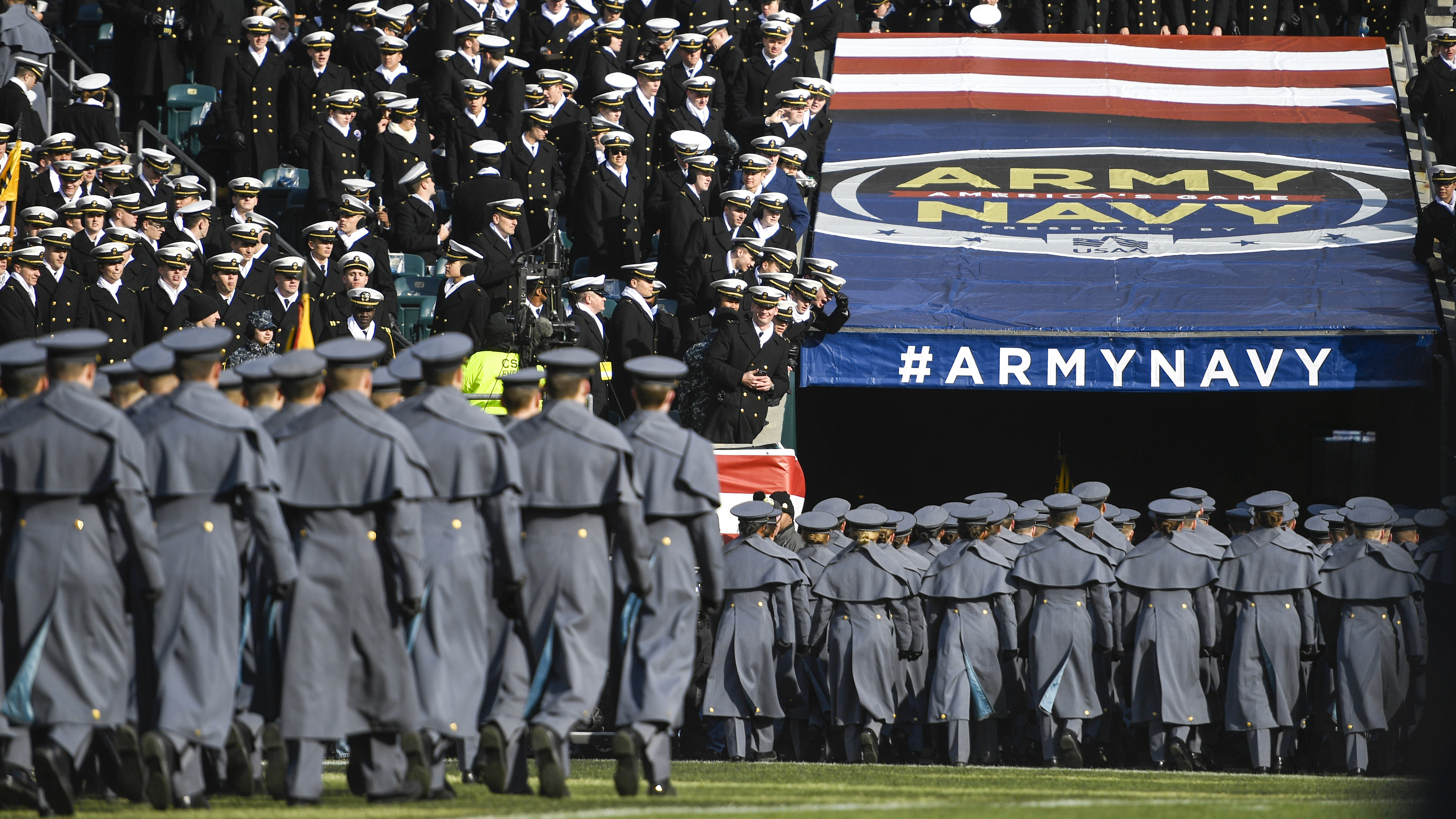 Navy Cadets taunt Army Cadets as they retreat from the field before the start of the game at Lincoln Financial Field on December 08, 2018 in Philadelphia, Pennsylvania. (Photo by Sarah Stier/Getty Images)