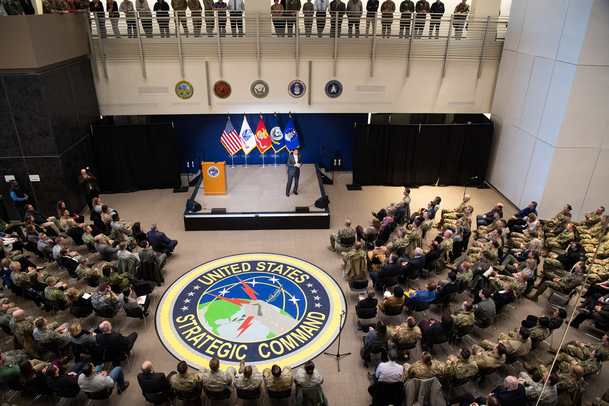 Defense Secretary Mark Esper hosts a town hall during his visit to STRATCOM headquarters at Offutt Air Force Base, Neb., Feb. 20, 2020. (Army Staff Sgt. Nicole Mejia/DoD)