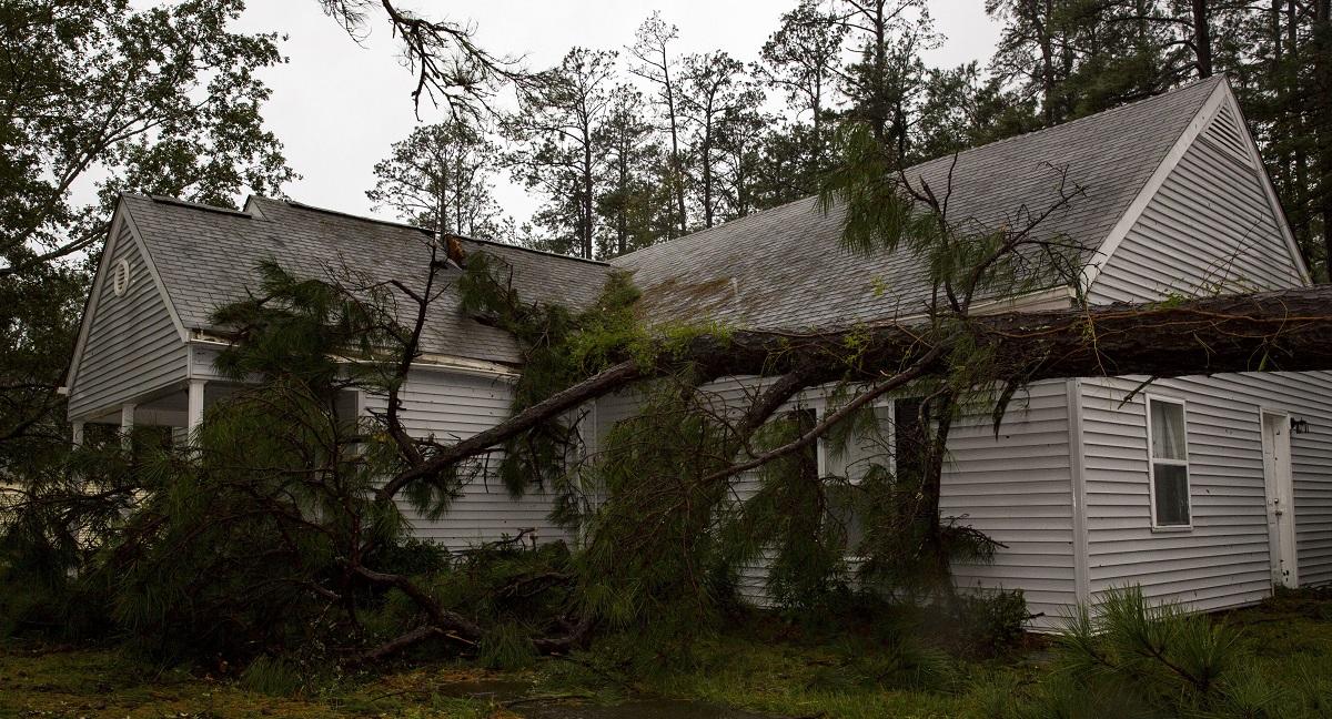A tree collapsed on the Paradise Point houses during Hurricane Florence on Marine Corps Base Camp Lejeune, North Carolina, Sept. 15. (Lance Cpl. Isaiah Gomez/Marine Corps)