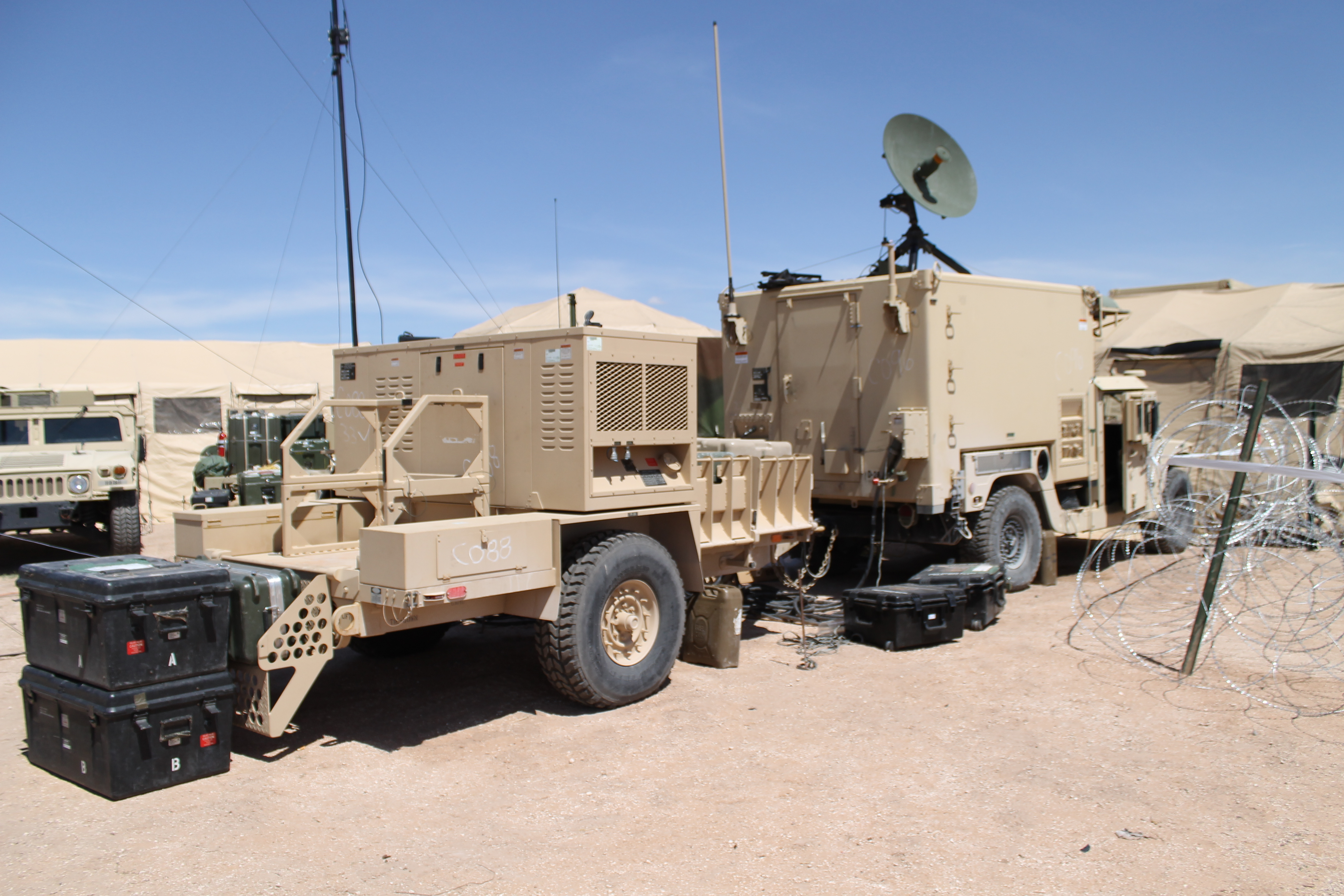 Other network and communications systems were tested and evaluated near the TOC during the NIE including the WIN-T Network Operations and Security Center- Lite, which provides network operations capability with automated tools to respond to network events. The NOSC-L is designed to support units like the air assault unit conducting the NIE because it's lighter-weight, more mobile and can be sling-loaded. (Jen Judson/Staff)