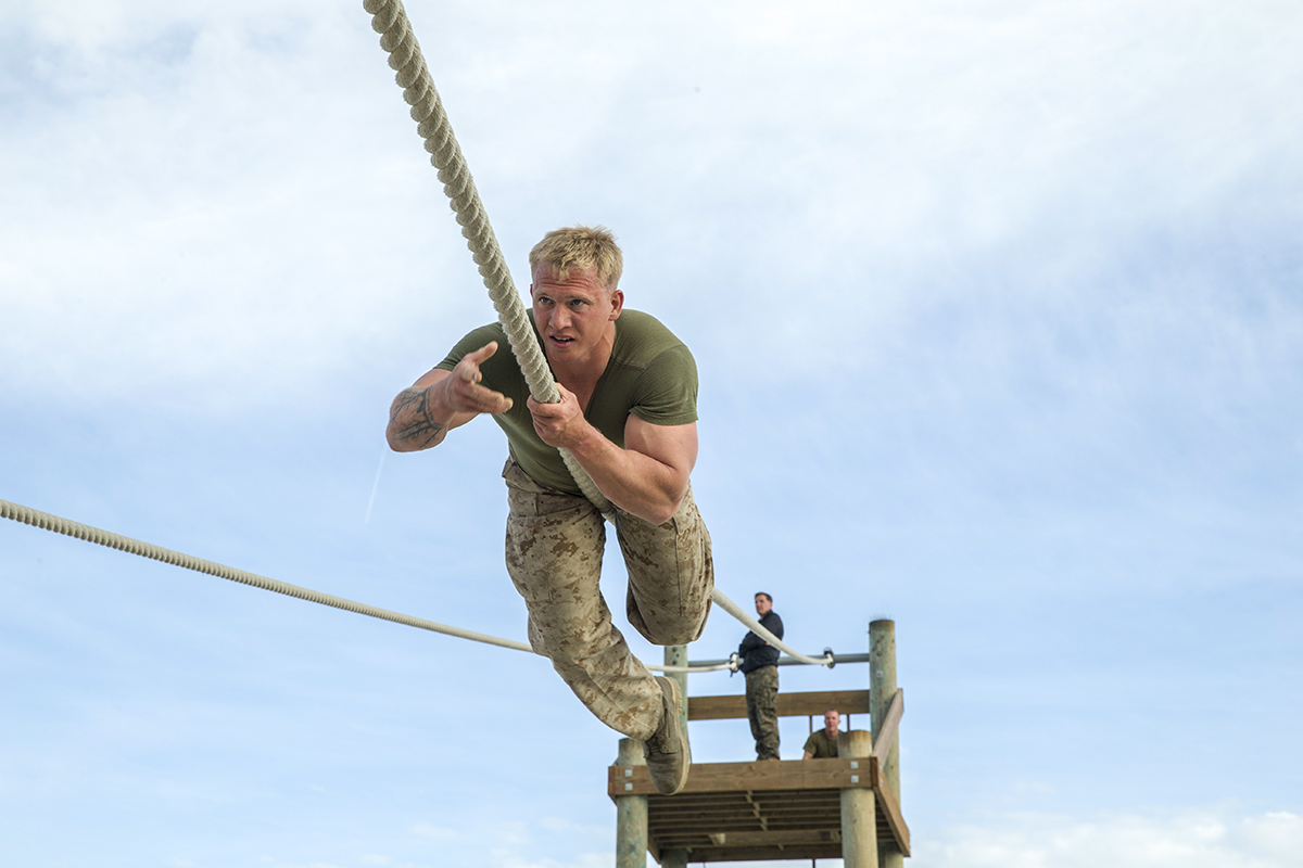 U.S. Navy HN Wayne O. Jaworski, 25, from Fairview, Tennessee, Basic Reconnaissance Course 2-18, runs a confidence course aboard Naval Amphibious Base Coronado, Calif., March 8, 2018. Marines and Sailors were tasked with completing the course in 12 minutes or less, challenging their mental and physical endurance. (Lance Cpl. Haley McMenamin/Marines)