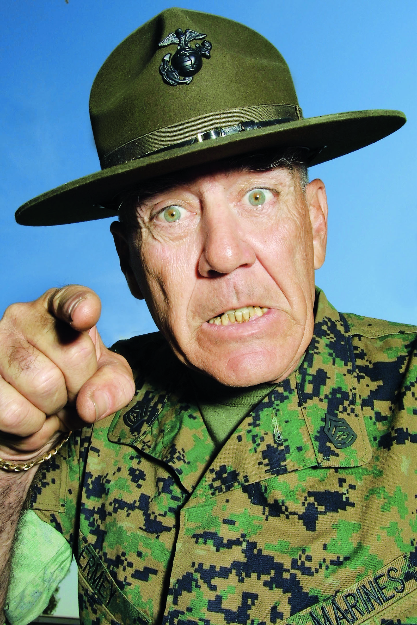 R. Lee Ermey often plays the role of Marine drill instructor which he made famous in Full Metal Jacket.