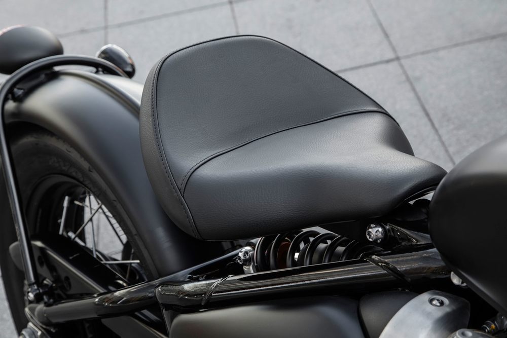 Tractor-style seats are common on custom bobbers, and the Bobber Black draws from the same vein. (Triumph Motorcycles)