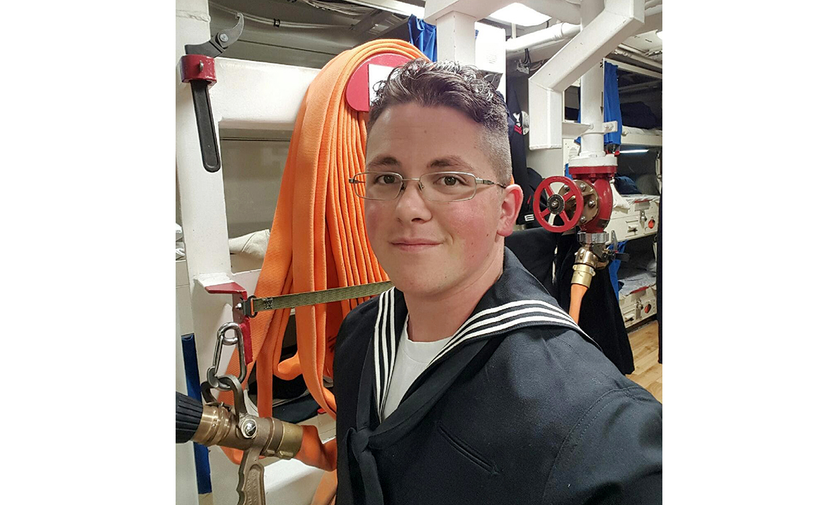 This undated photo provided by Cynthia Kimball shows her son John Hoagland aboard the USS John McCain. Kimball said Wednesday, Aug. 23, 2017, the Navy told her that her son is among the missing seamen who were aboard the USS John McCain when it collided with an oil tanker near Singapore Monday, Aug. 21. (Cynthia Kimball via AP)
