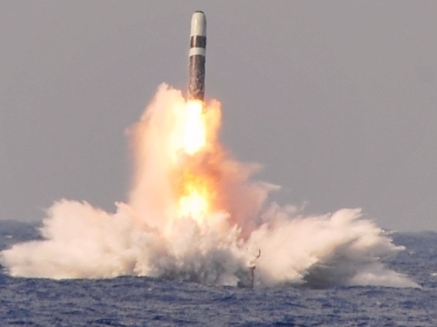 A Trident II D-5 ballistic missile launches from the Ohio-class ballistic missile submarine West Virginia during a test at the Atlantic Missile Range. (U.S. Defense Department)