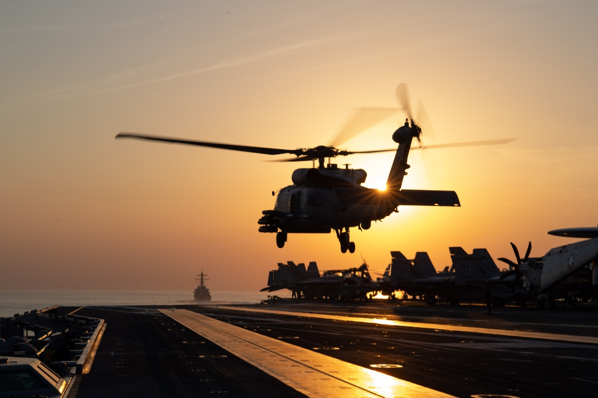 An MH-60R Sea Hawk helicopter takes off from the flight deck of the aircraft carrier USS John C. Stennis (CVN 74) during a transit through the Strait of Hormuz on Dec. 21, 2018. (MC3 Grant G. Grady/Navy)