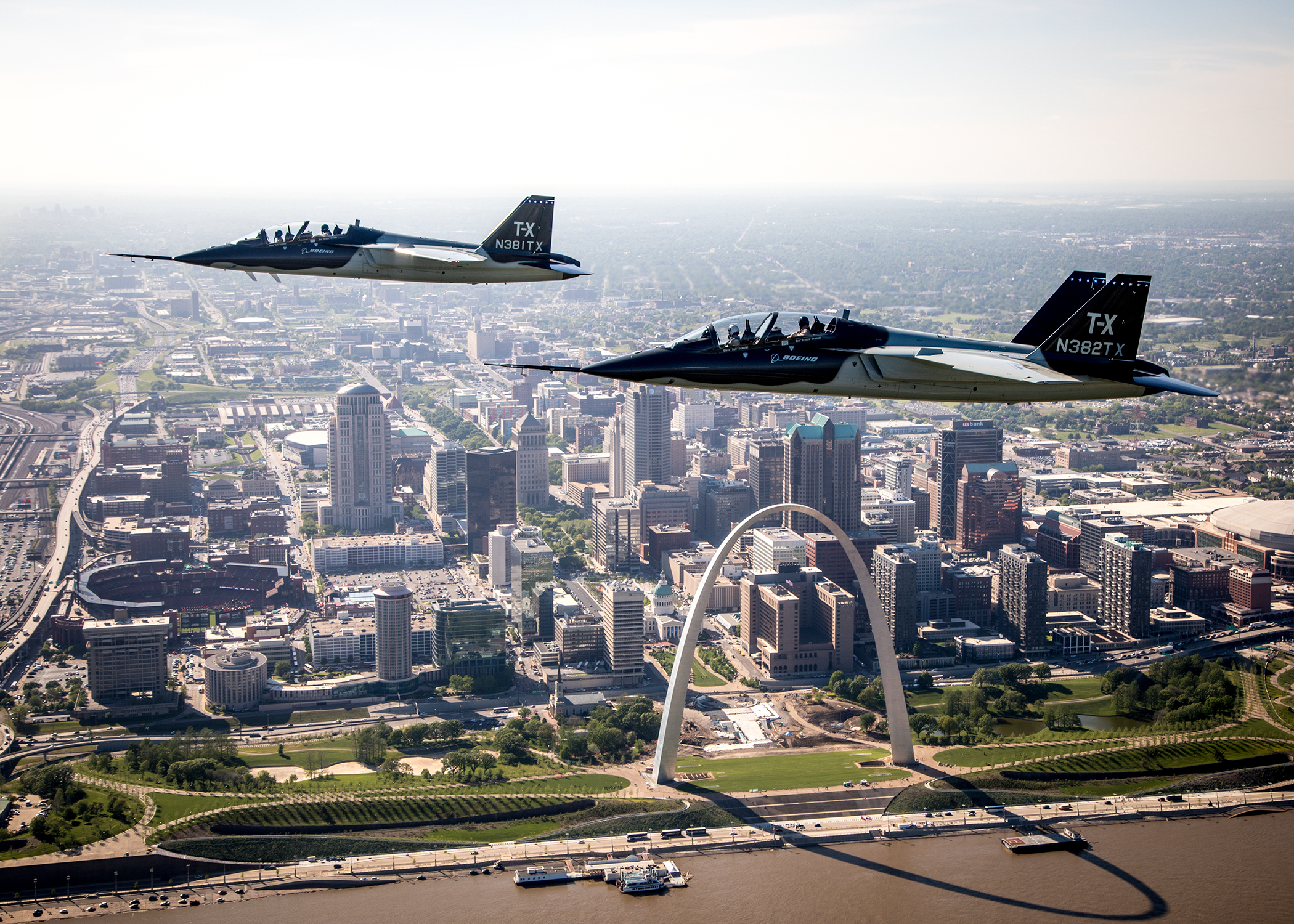 Two Boeing/Saab T-X jets fly above St. Louis. (Saab/John Parker )