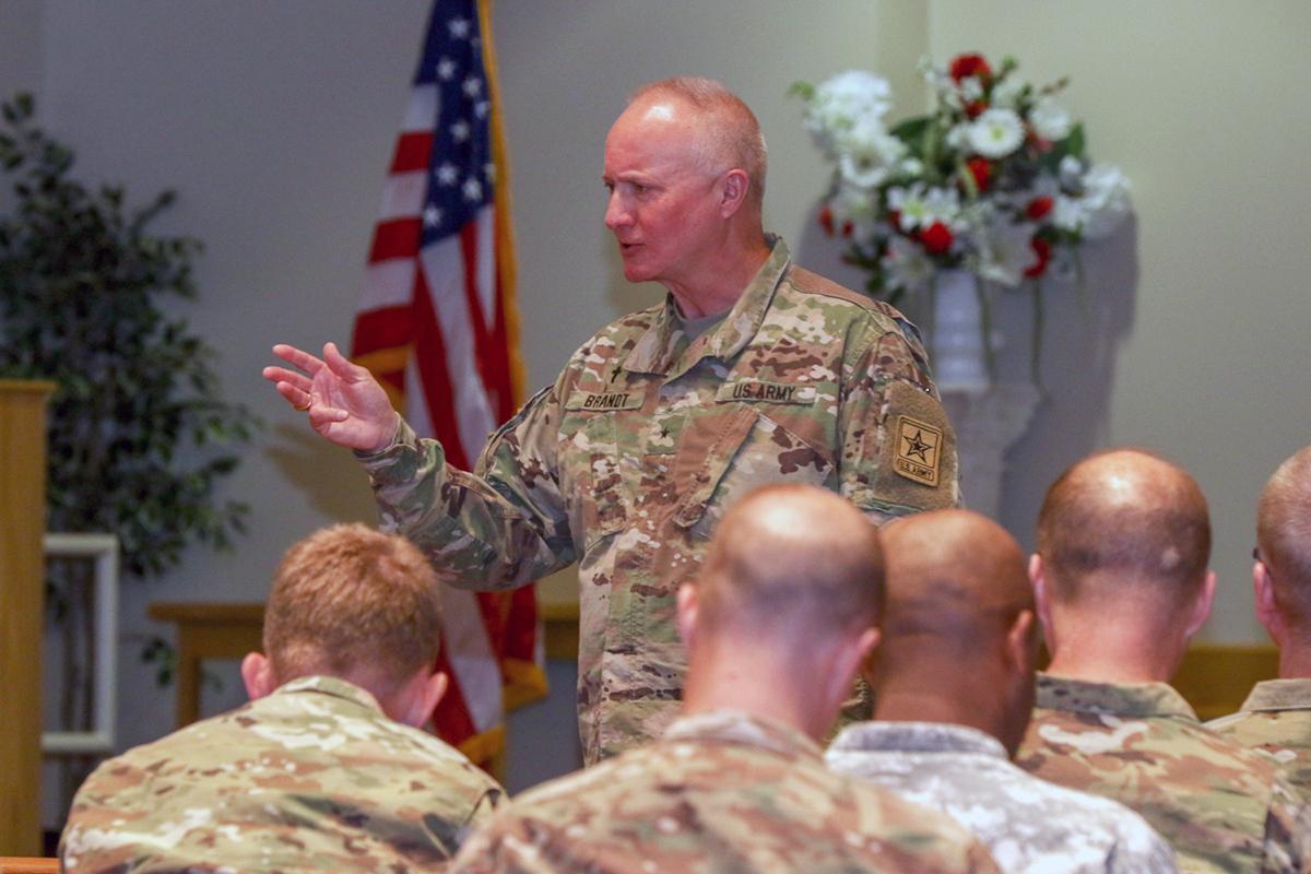 Chaplain (Brig. Gen.) Kenneth Brandt, the senior Army National Guard chaplain and US Army deputy chief of chaplains for the National Guard, speaks to active, Guard and Reserve unit ministry teams gathered at Fort Drum, N.Y., on June 12, 2017, during a chaplain summit. (Spc. Keegan Costello/Army)
