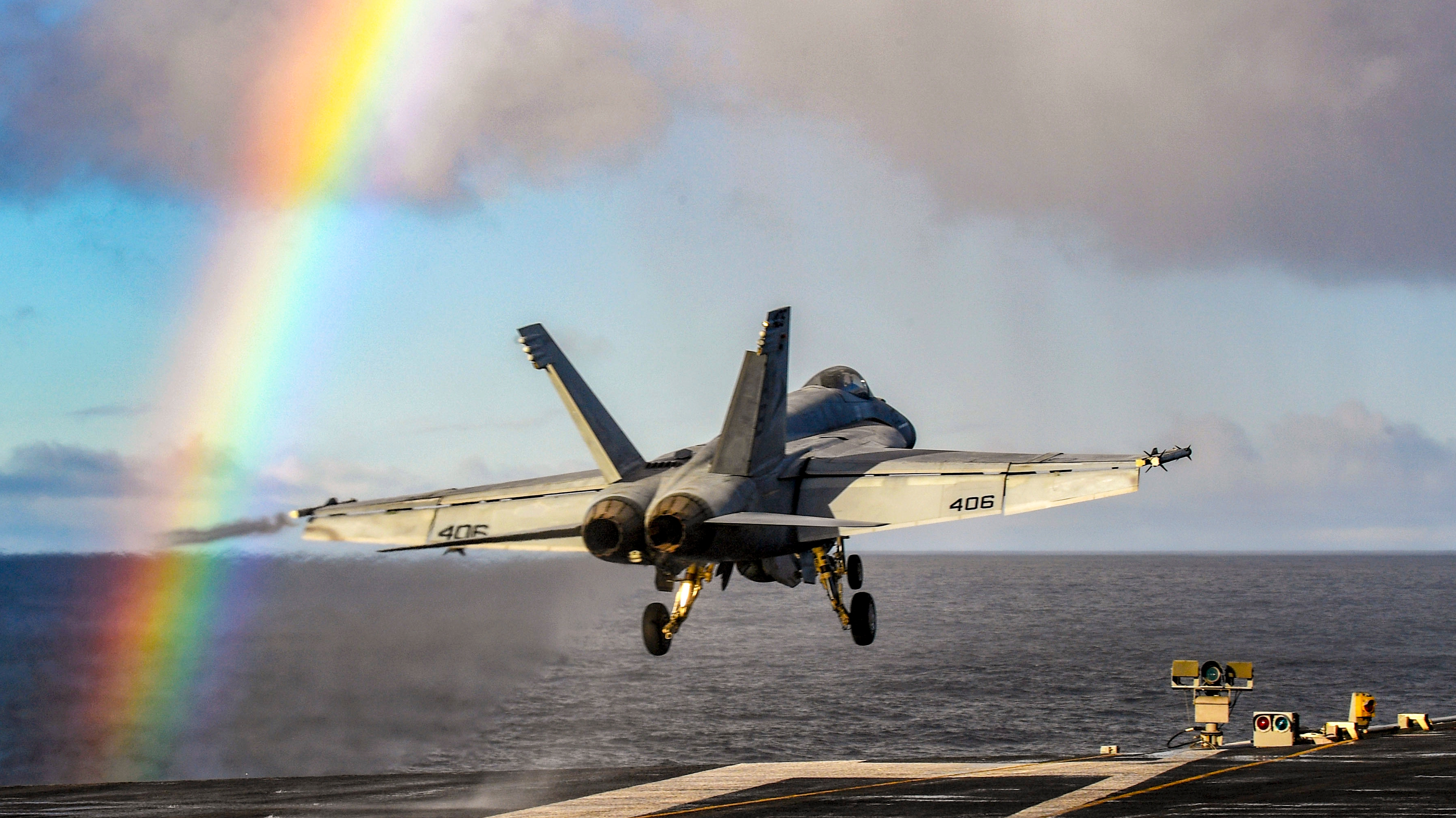 A U. S. Navy F/A-18E Super Hornet, assigned to the 'Sunliners' of Strike Fighter Squadron (VFA) 81, launches from the Nimitz-class aircraft carrier USS Harry S. Truman (CVN 75) in support of Trident Juncture 18 in the Norwegian Sea October 25, 2018. With more than 50,000 participants from 30 Allied and partner nations, Trident Juncture 18 is taking place in Norway and the surrounding areas of the North Atlantic and the Baltic Sea, including Iceland and the airspace of Finland and Sweden. (MC3 Adelola Tinubu/Navy)