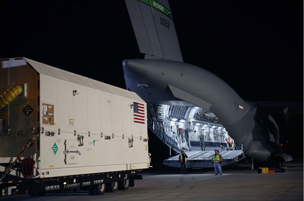The first GPS III satellite ships from Buckley Air Force Base, Colo., to Cape Canaveral, Fla., ahead of its projected launch in December 2018. (Lockheed Martin)
