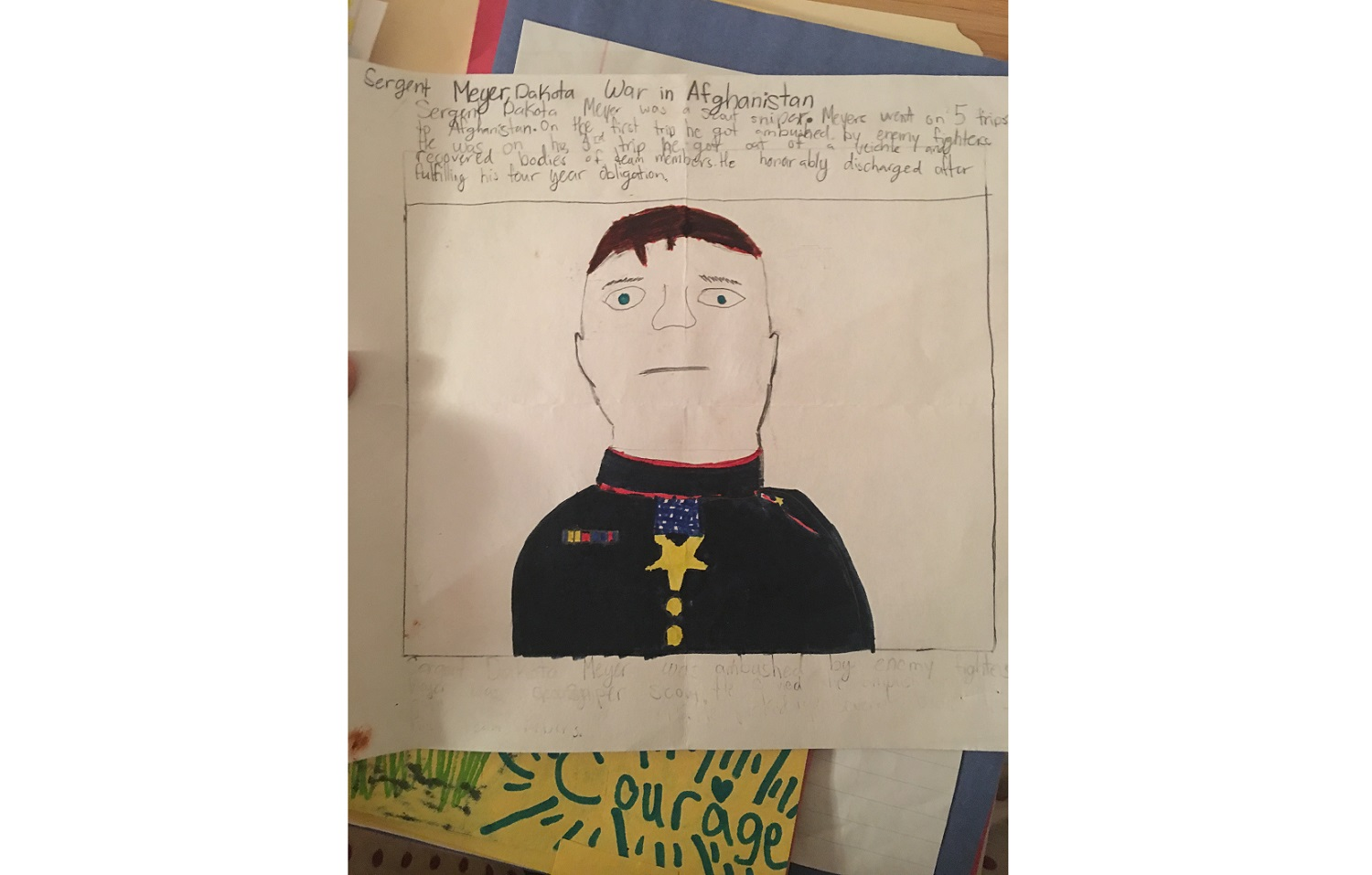 A student's letter to (and portrait of) Dakota Meyer, who earned the Medal of Honor as a Marine corporal for his heroism in the face of an enemy ambush in Afghanistan in 2009. (Courtesy of Janine Stange)