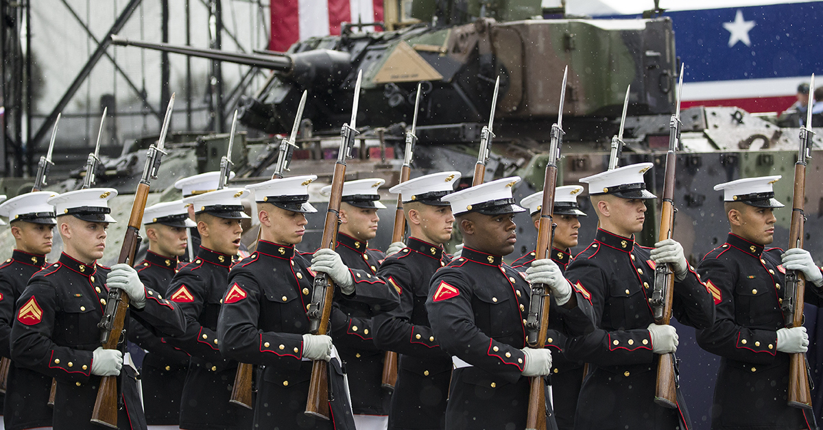 The U.S. Marine Corps Silent Drill Platoon arrives to perform during an Independence Day celebration in front of the Lincoln Memorial, Thursday, July 4, 2019, in Washington. (AP Photo/Alex Brandon)