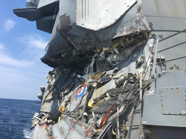 Damage aboard the warship Fitzgerald following its June 17, 2017, collision with a merchant vessel. (Photo provided to Navy TImes)