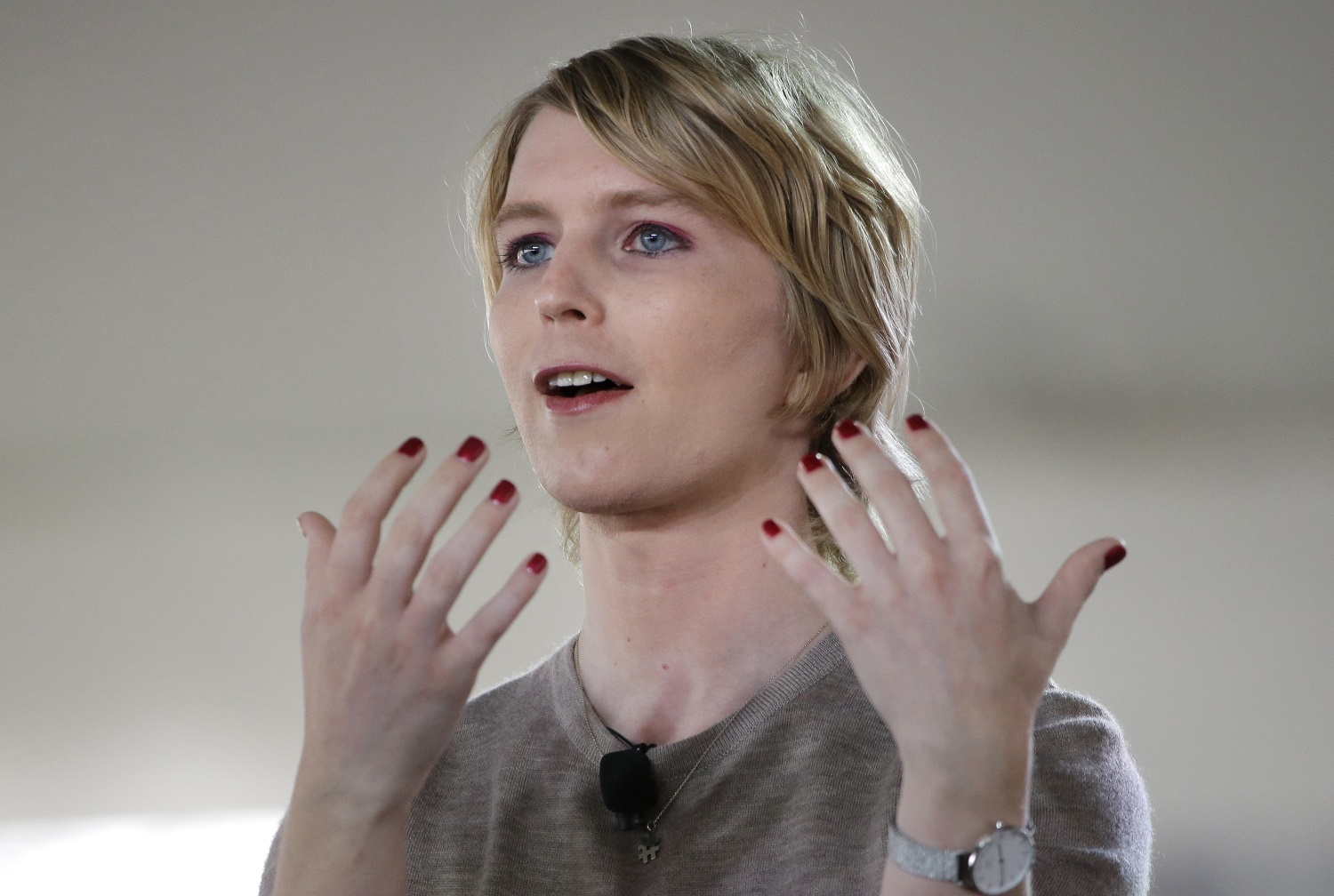 Chelsea Manning addresses the audience during a forum Sept. 17 in Nantucket, Mass. (Steven Senne/AP)