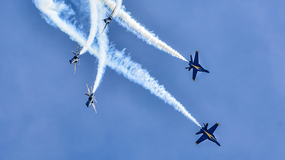 The Navy flight demonstration squadron, the Blue Angels, Delta pilots perform the Loop Break Cross maneuver during a practice demonstration for the Tuscaloosa Regional Air Show. The Blue Angels are scheduled to perform more than 60 demonstrations at more than 30 locations across the U.S. and Canada in 2018. (MC1 Daniel M. Young/Released)