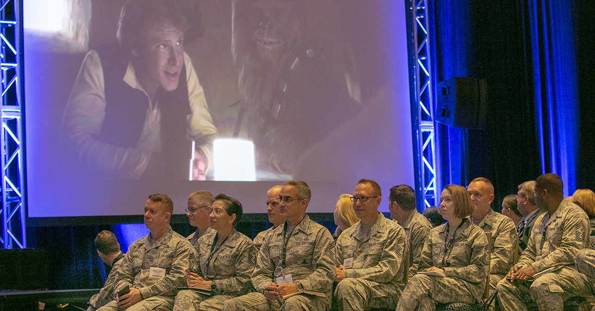 Sec. of the Air Force Heather Wilson plays a clip from Star Wars during the opening day of the Air Force Association's Air, Space & Cyber conference held at the Gaylord National Resort & Conference Center in Oxon Hill, MD.(Alan Lessig/Staff)