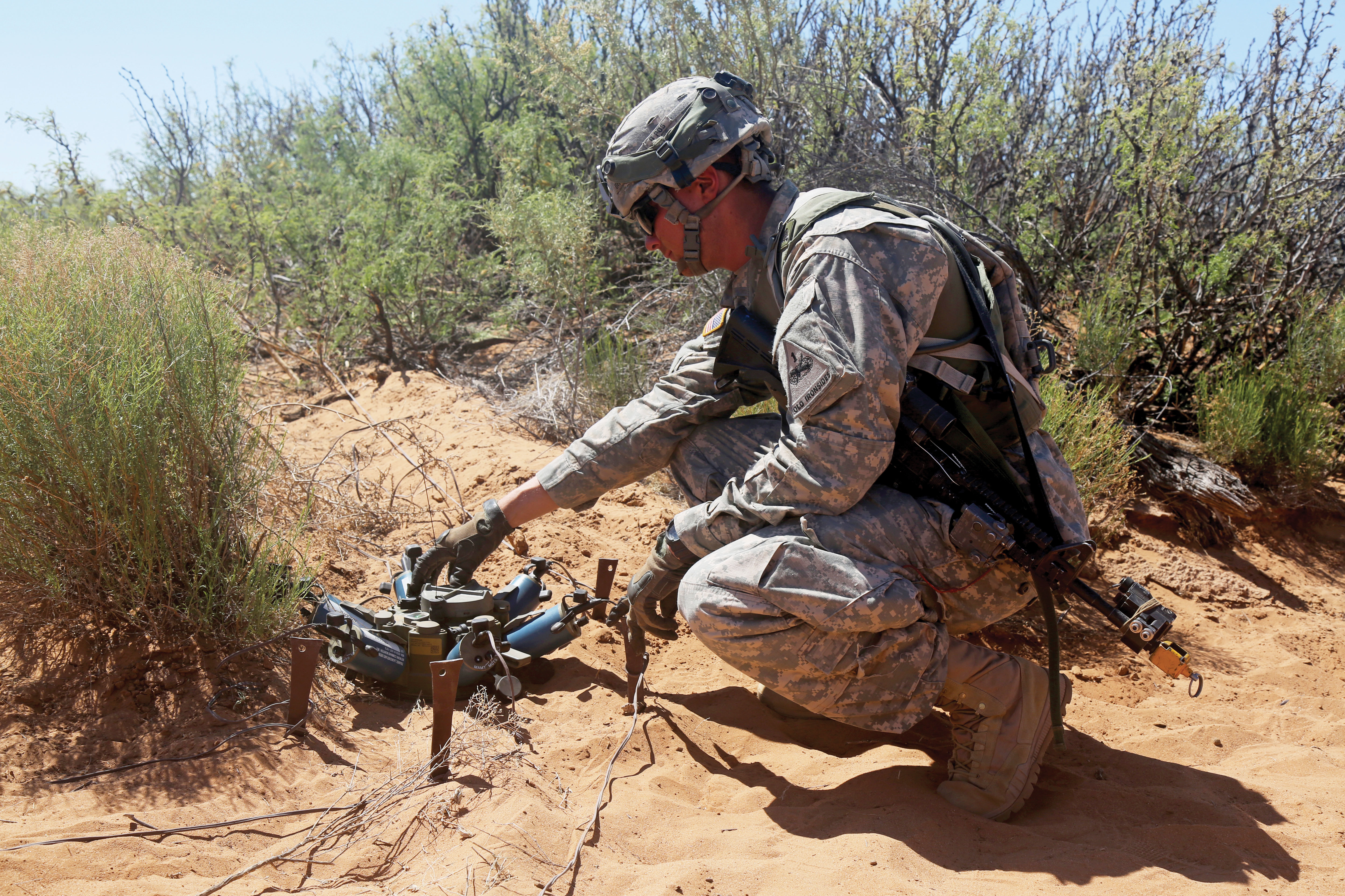 The Spider represents a partial solution to problems created by mines left on the battlefield after hostilities end; PEO Ammunition, DARPA and a handful of companies and government agencies are working to solve the problem completely. (Cheneé Brooks, US Army)