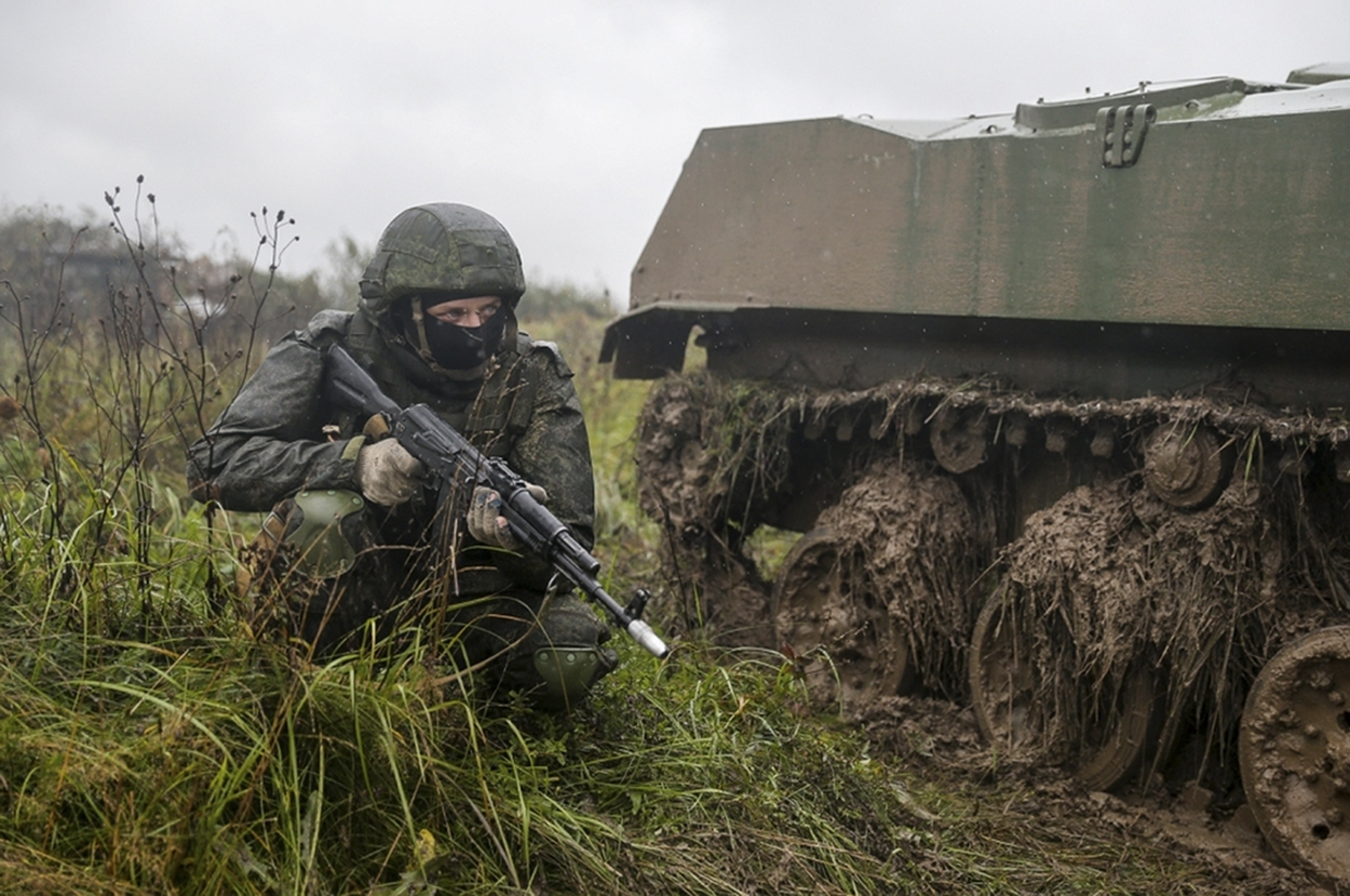 A Russian serviceman attends a military exercise at a training ground near Kaliningrad, Russia, on Sept. 18, 2017. (Russian Defence Ministry Press Service/AP)