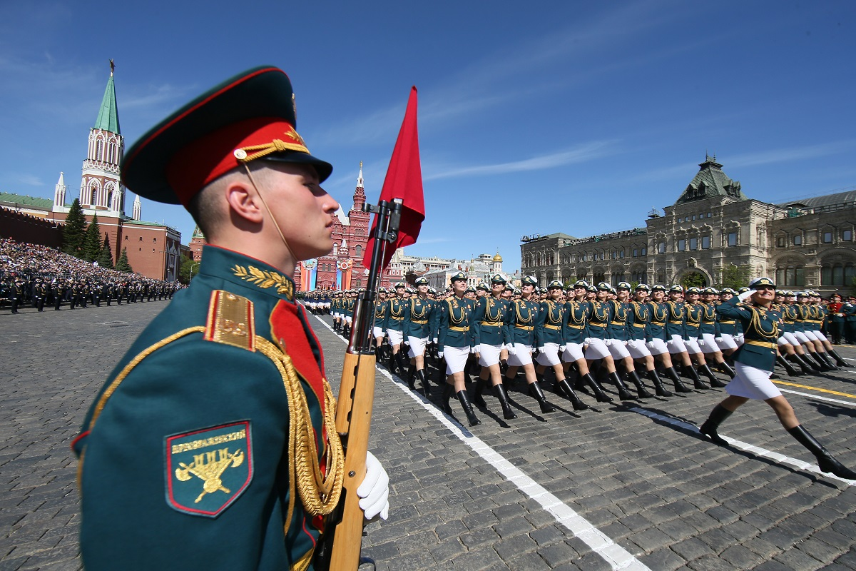 Russian servicewomen march at Red Square during the Victory Day military parade. Russia marked the 73rd anniversary of the Soviet Union's victory over Nazi Germany in World War Two. (Maxim Shipenkov/AFP via Getty Images)