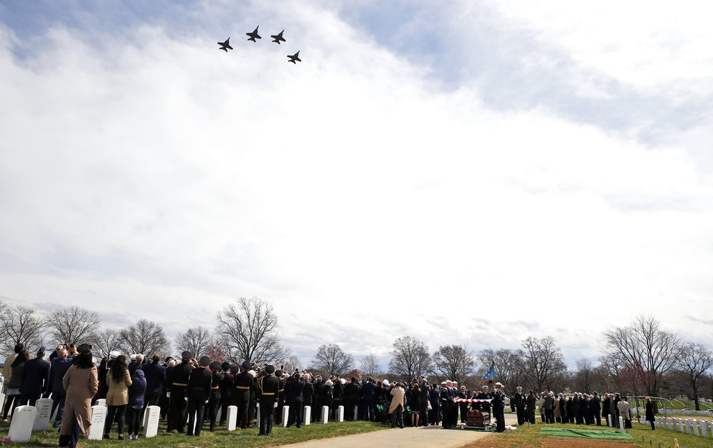 A flyover of F-18 Superhornets from Strike Fighter Squadron VFA 32 flies over during burial services for Capt. Thomas J. Hudner Jr., a naval aviator and Medal of Honor recipient from Concord, Mass., at Arlington National Cemetery Wednesday, April 4, 2018 in Arlington, Va. Hudner earned the Medal of Honor for his actions in the Battle of the Chosin Reservoir during the Korean War. (Alex Brandon/AP)