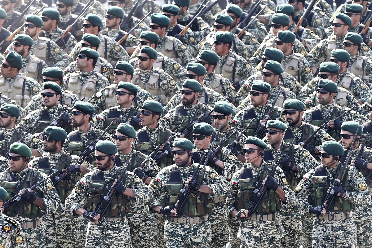 Iranian soldiers march in formation during the Army Day parade (Ebrahim Noroozi/AP)