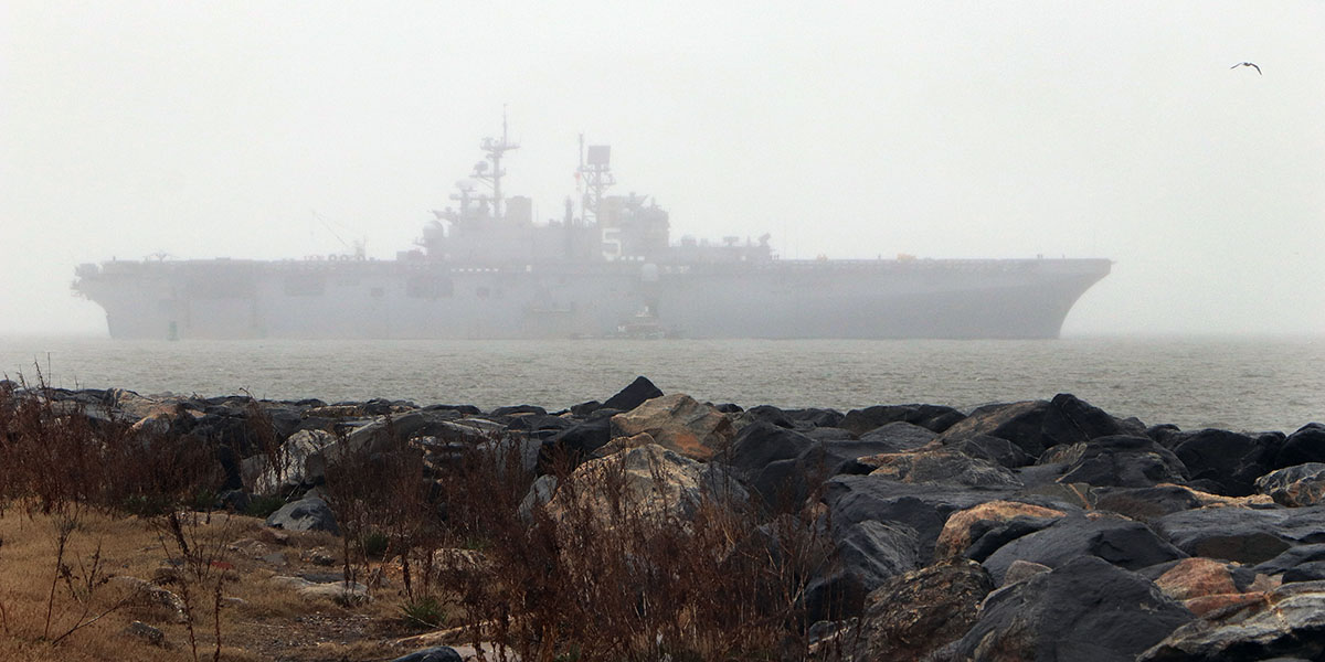 The amphibious assault ship Bataan gets underway from Naval Station Norfolk for sea trials and basic unit training for the first time in over a year. (Hendrick L. Dickson/Navy)