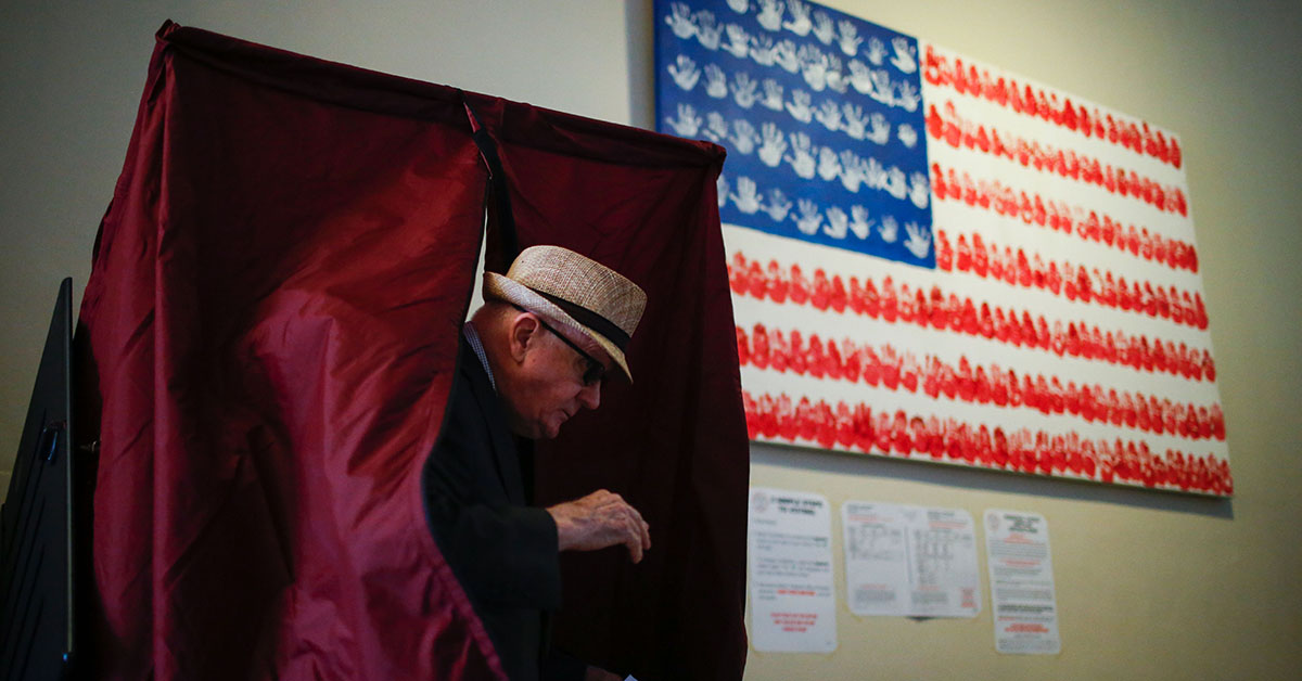 A man casts his ballot at polling station during New Jersey's primary elections on June 7, 2016, in Hoboken, New Jersey. (Eduardo Munoz/AFP/Getty Images)