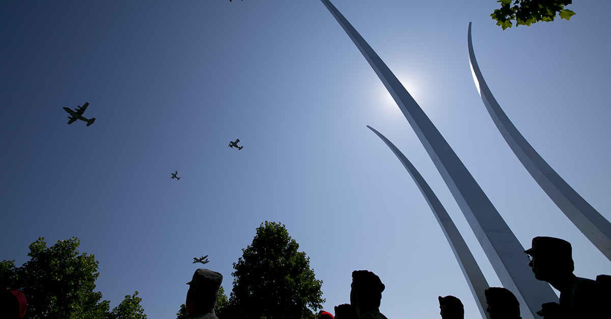A missing man formation flies over the Air Force Memorial on Aug. 24, 2018, during a Medal of Honor unveiling ceremony for Air Force combat controller Technical Sgt. John Chapman, who was posthumously awarded the Medal of Honor. (Alan Lessig/Staff)