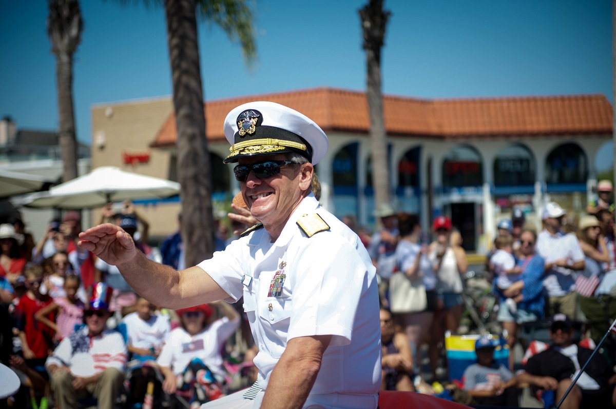 Vice Adm. Richard Brown, commander, Naval Surface Force, U.S. Pacific Fleet serves as grand marshal for the 70th Annual Independence Day Parade. (U.S. Navy/Mass Communication Specialist 2nd Class Nancy C. diBenedetto)