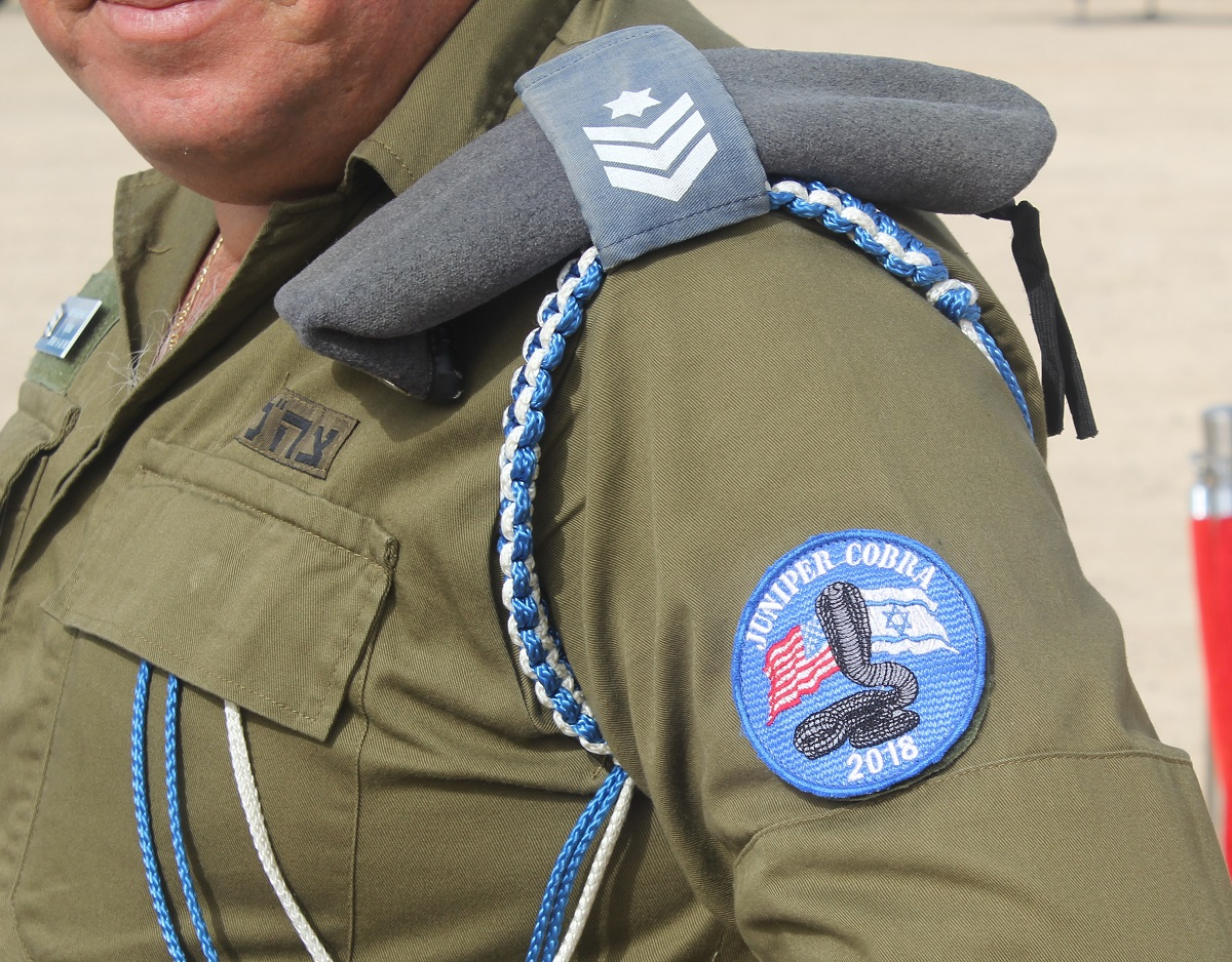 An IDF officer sports a special Juniper Cobra patch made for the exercise. (Ben Hartman/Contributor)