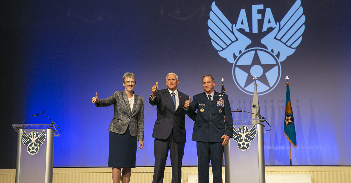 Air Force Secretary Heather Wilson and Air Force Chief of Staff Gen. David Goldfein with Vice President. Mike Pence, who made a surprise visit during the Air Force Association's Air, Space & Cyber conference held at the Gaylord National Resort & Conference Center in Oxon Hill, MD. (Alan Lessig/Staff)