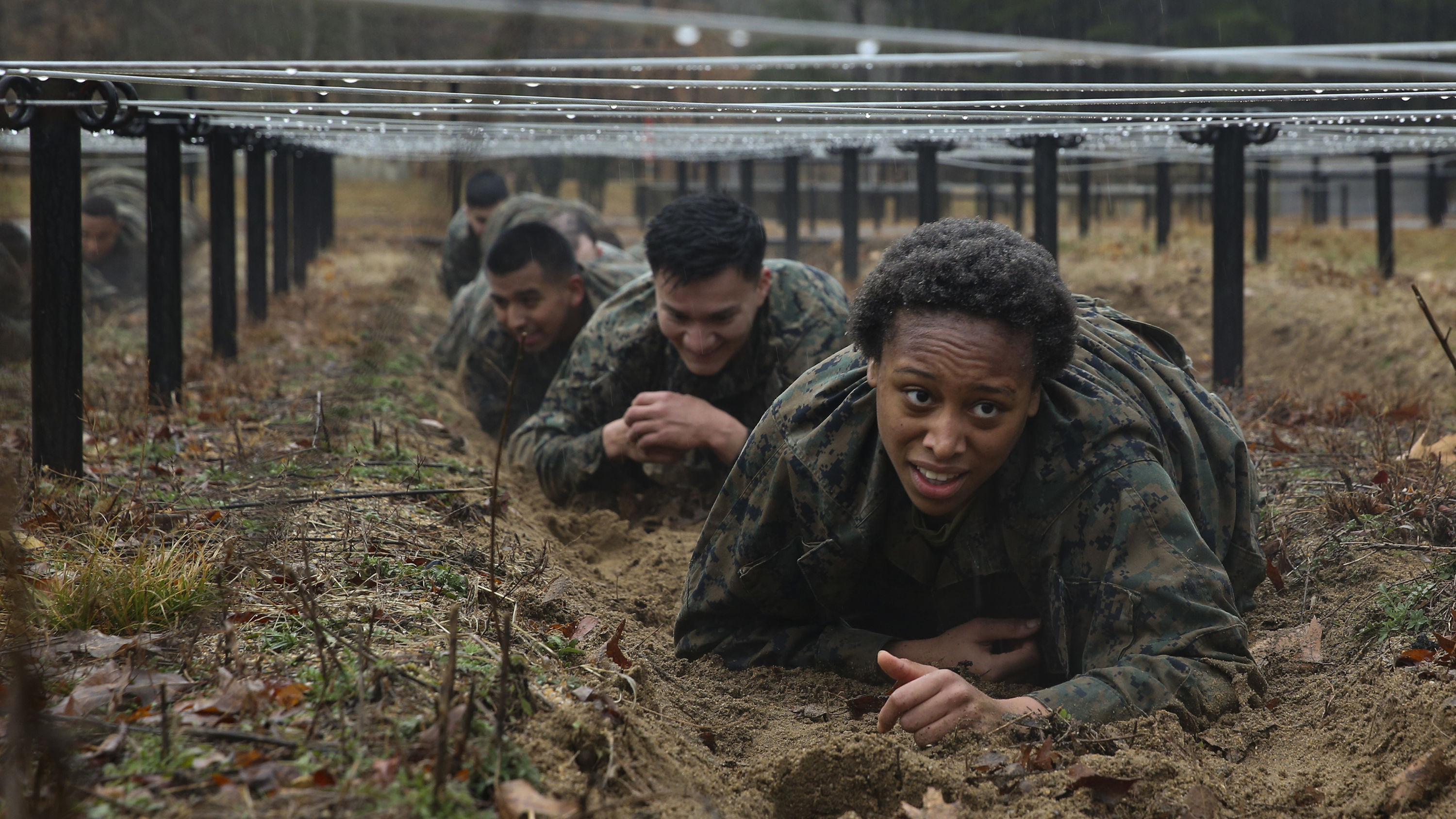 Marines from Corporals Course 615-20 with Combat Instructor Battalion go through the NATO standardized obstacle course at Marine Corps Base Quantico, Va., Feb. 13, 2020. (Sgt. Ann K. Correa/Marine Corps)