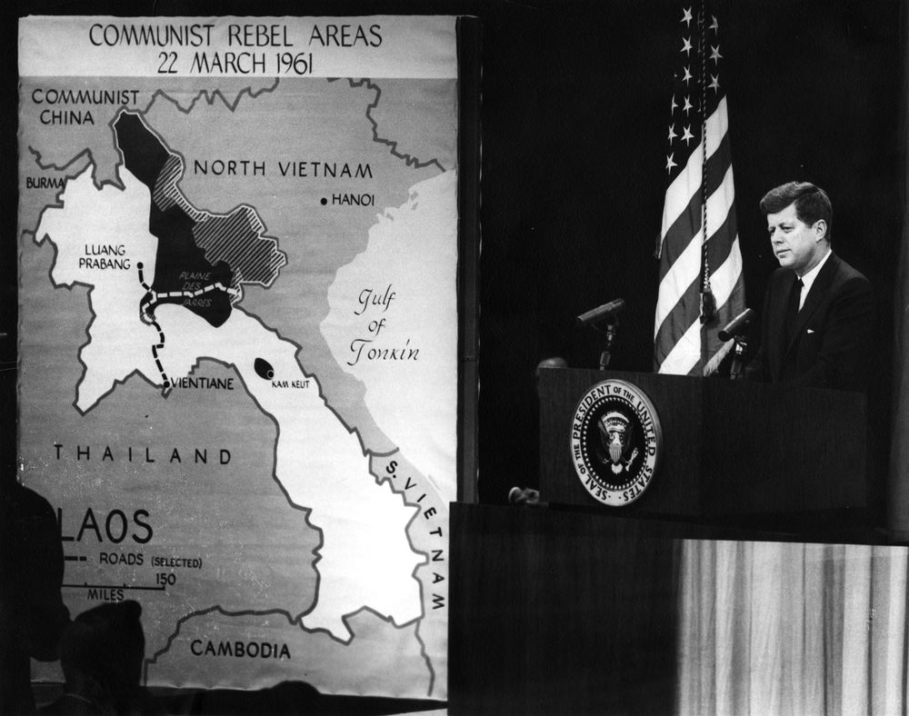 President Kennedy addresses a news conference in March 1961, about two months after his inauguration. When Kennedy took office, the Communist-backed Pathet Lao insurgents were about to take over Laos. In 1962, the Geneva Conference agreed to a declaration on the neutrality of Laos under a coalition government, but the Indochinese Communist Party used land it seized in Laos to build part of the Ho Chi Minh Trail. The trail would become a major conduit for Communist supplies and support, ensuring that Laos would remain a battlefront throughout the war. (National Archives/JFK Presidential Library and Museum)