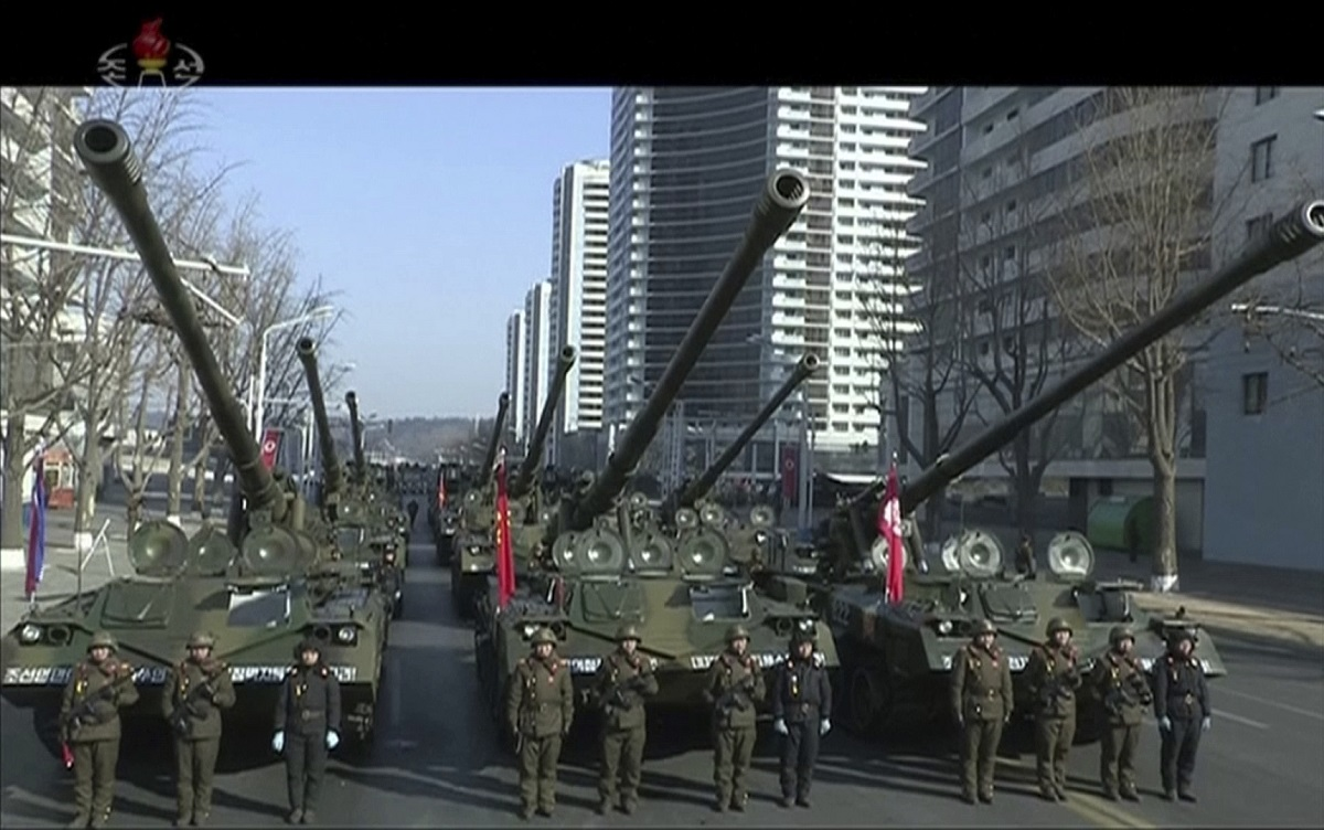 Military tanks are seen during a parade in Pyongyang, North Korea, on Feb. 8, 2018, just one day before South Korea hosts the Winter Olympics. (Korean Central Television via AP)