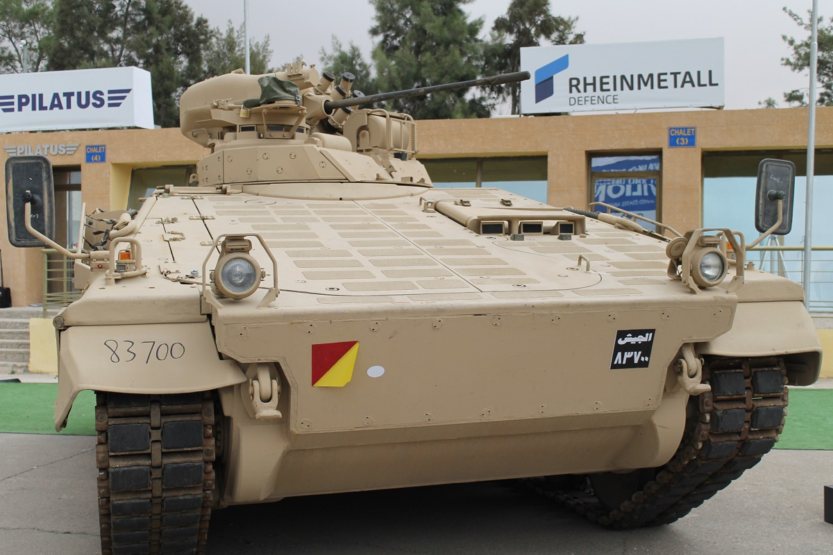 Germany's Rheinmetall brought its Marder IA3 Infantry Fighting Vehicle to SOFEX this year ― a refurbished and upgraded version ― to pitch it for potential sale to foreign customers. Chile and Indonesia have already purchased some of the vehicles, and Jordan is the latest customer. (Jen Judson/Staff)