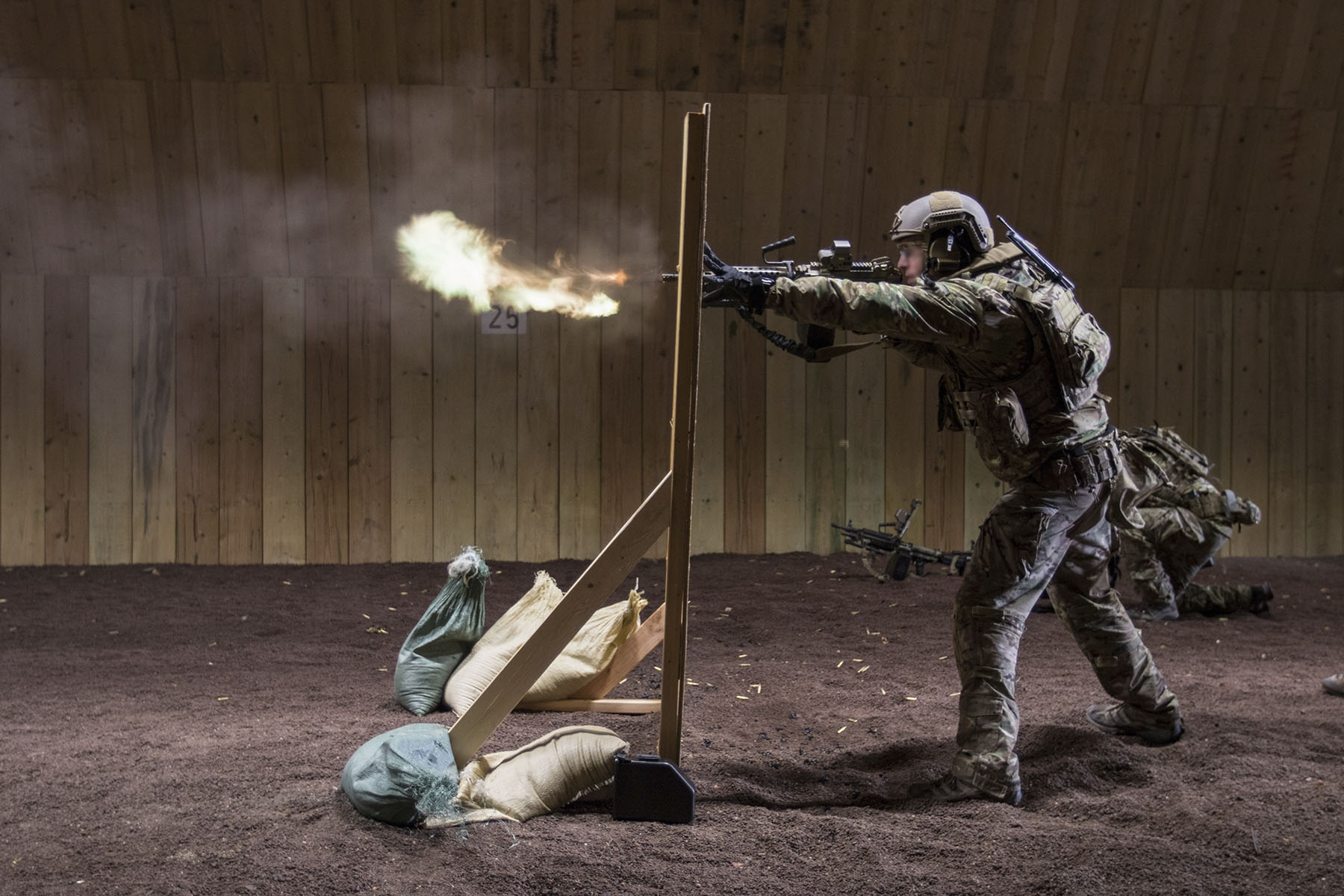 A Special Forces soldier assigned to 10th Special Forces Group (Airborne) conducts advanced marksmanship drills during a training event at Panzer Kaserne, Germany. (Staff Sgt. Matt Britton/Army)