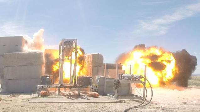 Sandia National Laboratories researchers perform series of tests to study fragmenting explosives. The lab is part of the NNSA. (Courtesy of Sandia National Laboratories)