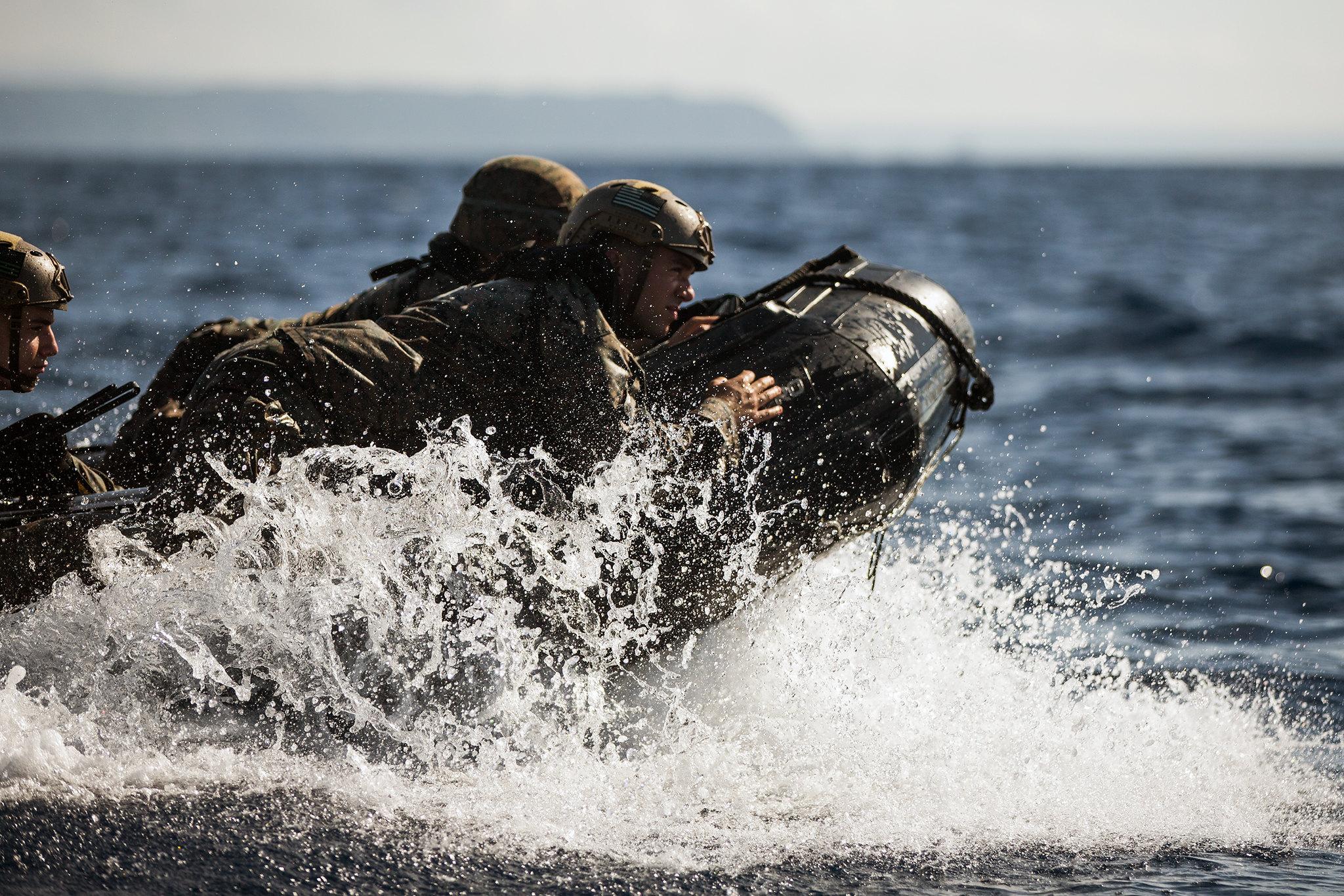 Marines conduct combat rubber raiding craft training on Camp Schwab, Okinawa, Japan, July 16, 2019. (Cpl. Josue Marquez/Marine Corps)