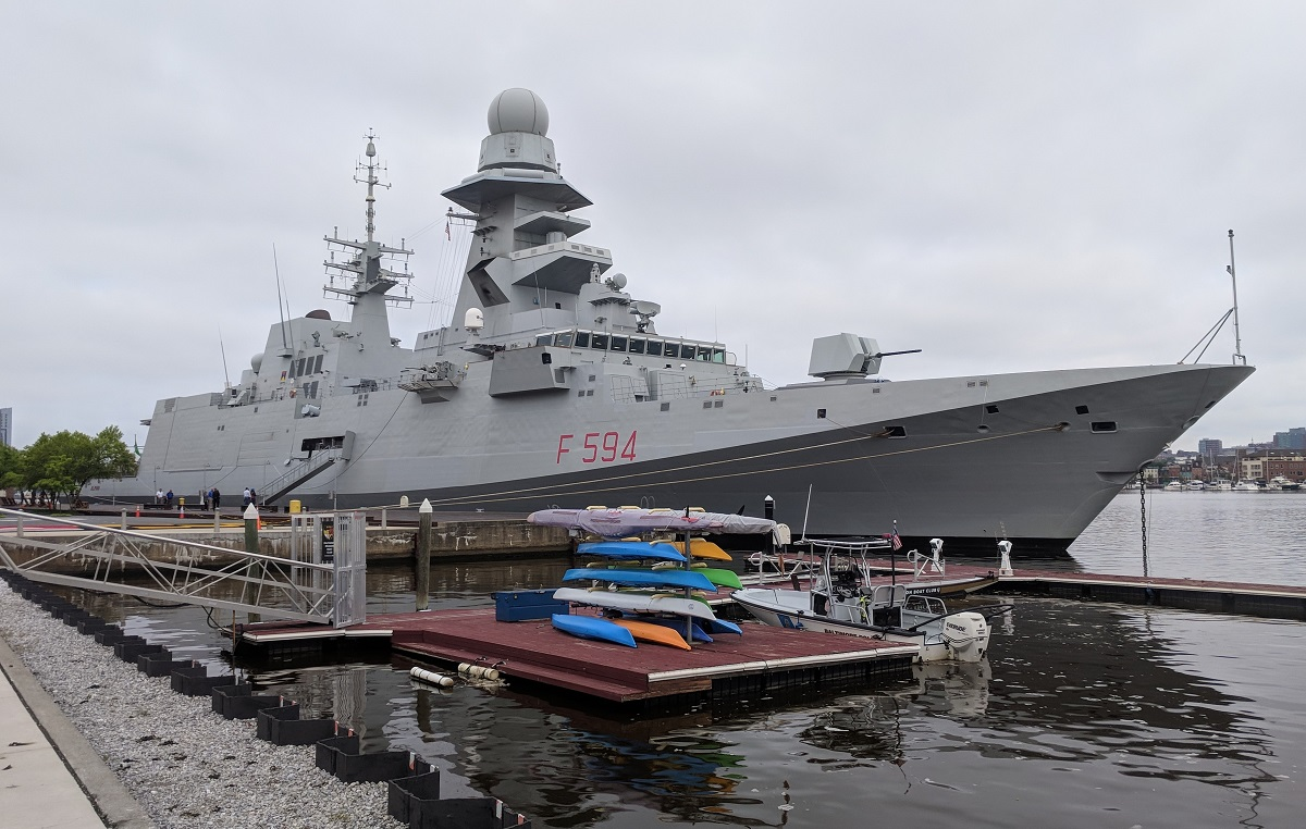 The Italian Navy's anti-submarine warfare FREMM Alpino took a tour of the U.S. East Coast, shown here pierside in Baltimore, Md. The Fincantieri-built warship is a contender for the U.S. Navy's next-generation frigate, the FFG(X). (David B. Larter/Staff)