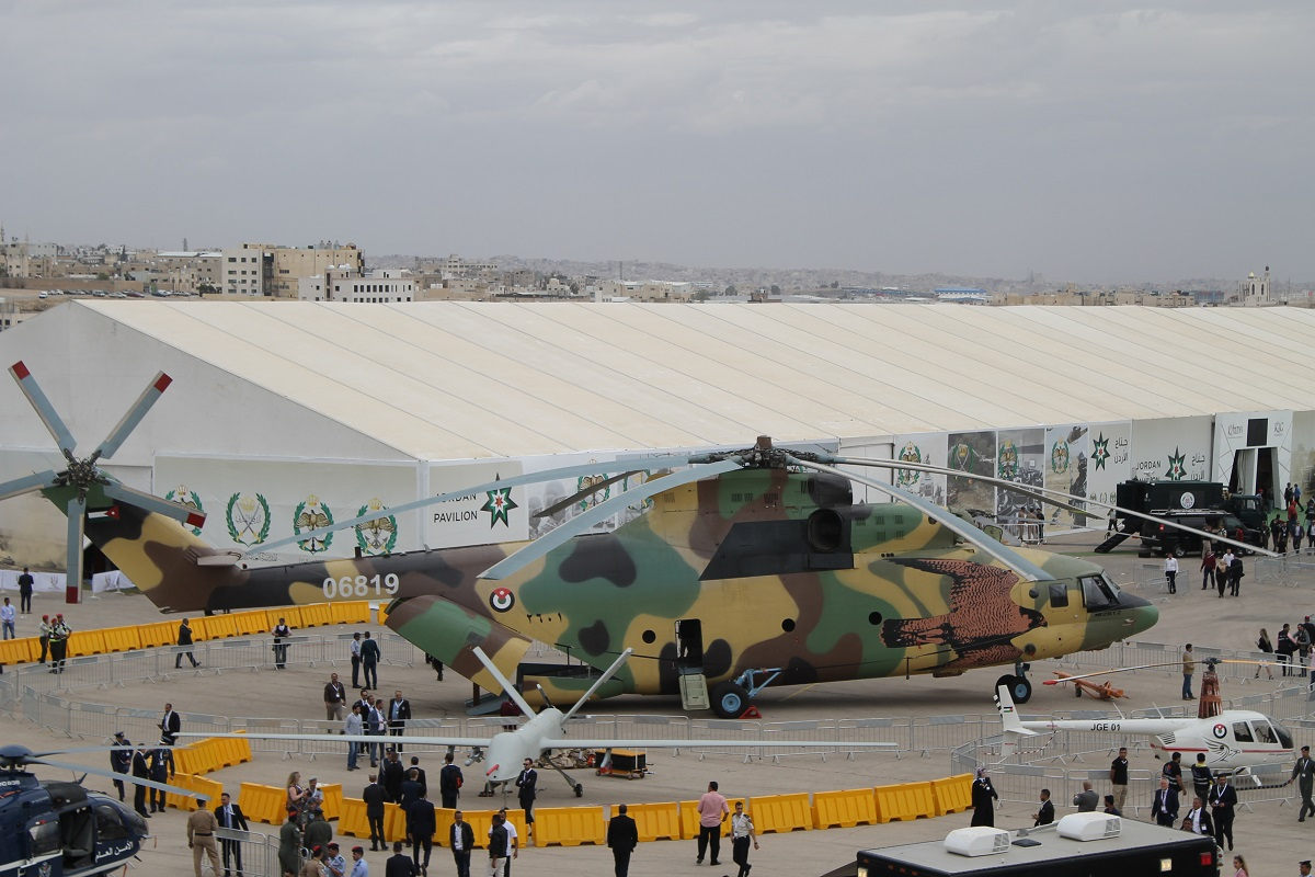 Russia and China took the center ring at the exposition with Russia's Mi-26 Halo being the undeniable star of the show. China's CH-4 drone, that looks eerily like a Reaper UAS, sat next to Russia's giant. Both are owned and operated by the Jordanian Air Force. (Jen Judson/Staff)