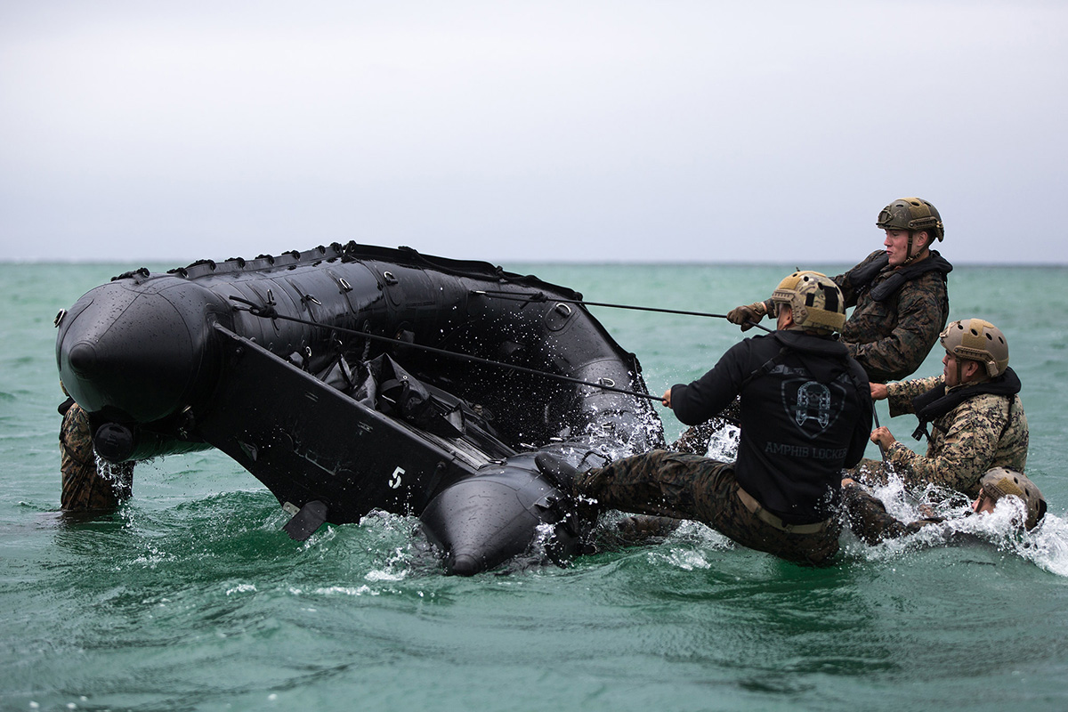 U.S. Marines conduct F470 Combat Rubber Raiding Craft training on Camp Schwab, Okinawa, Japan, May 29, 2019. The CRRC is often used to destroy enemy elements by transporting lightly armed raiding parties onto offshore facilities, beaches or larger vessels. (Cpl. Josue Marquez/Marine Corps)